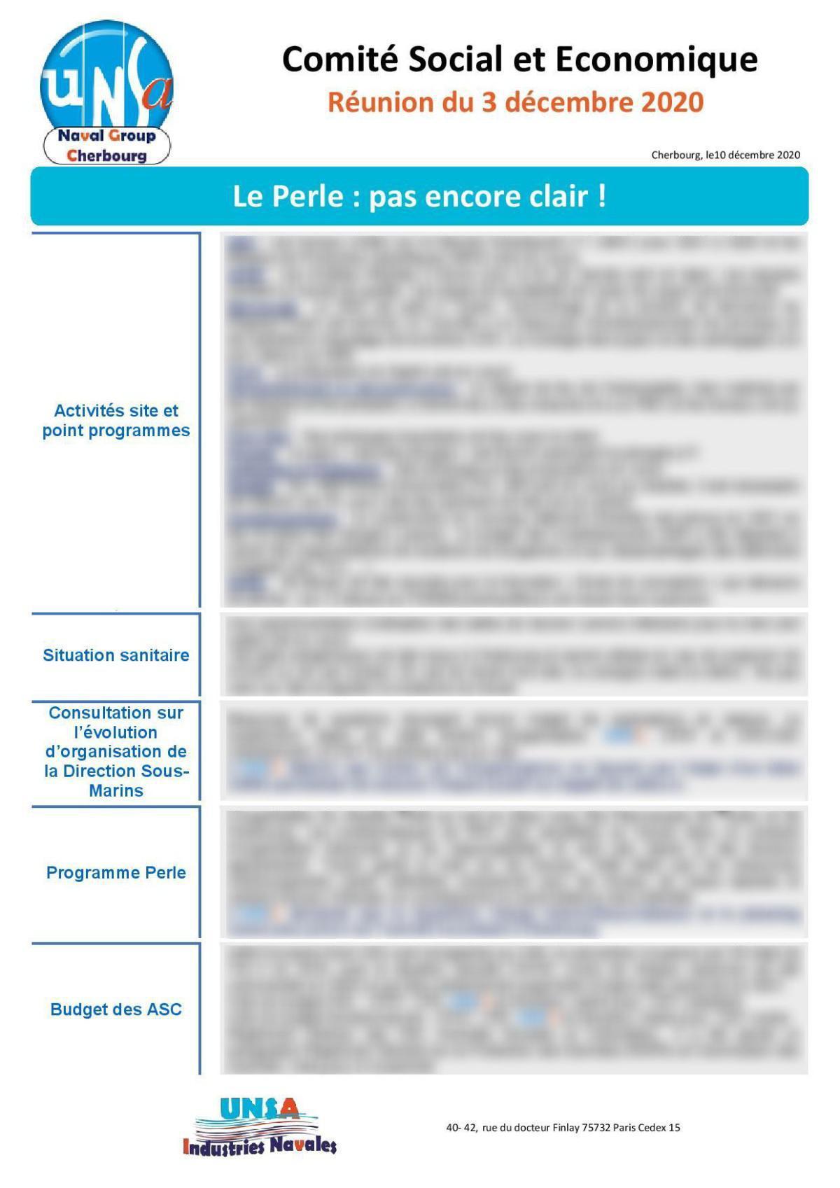 Réunion du 3 décembre 2020 - Compte Rendu