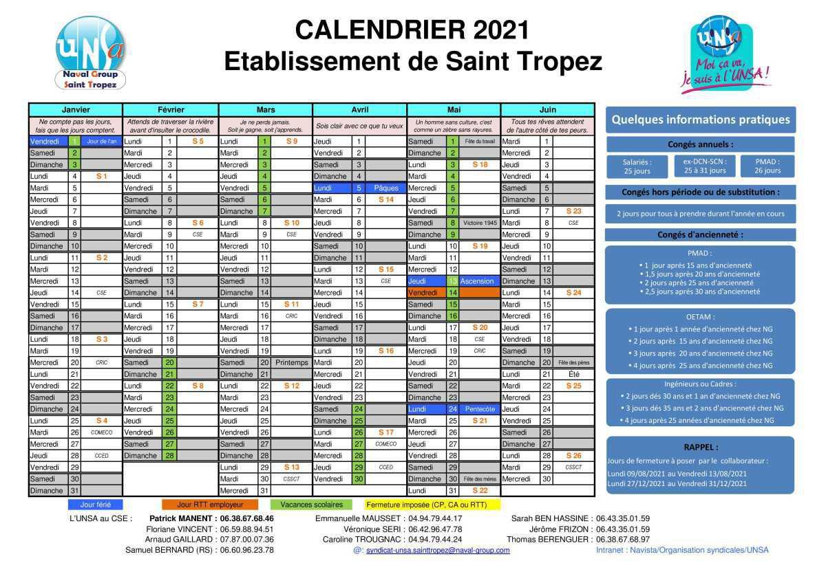 calendrier d'ouverture du site de Saint Tropez