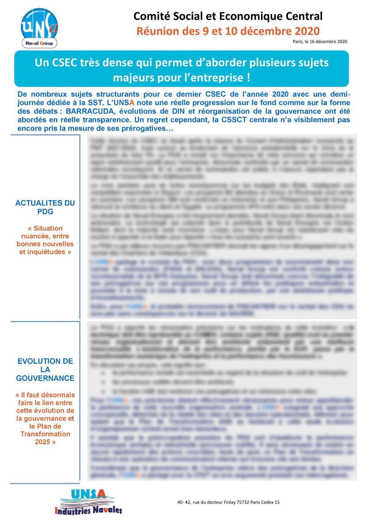Réunion des 9 et 10 décembre 2020 - compte-rendu