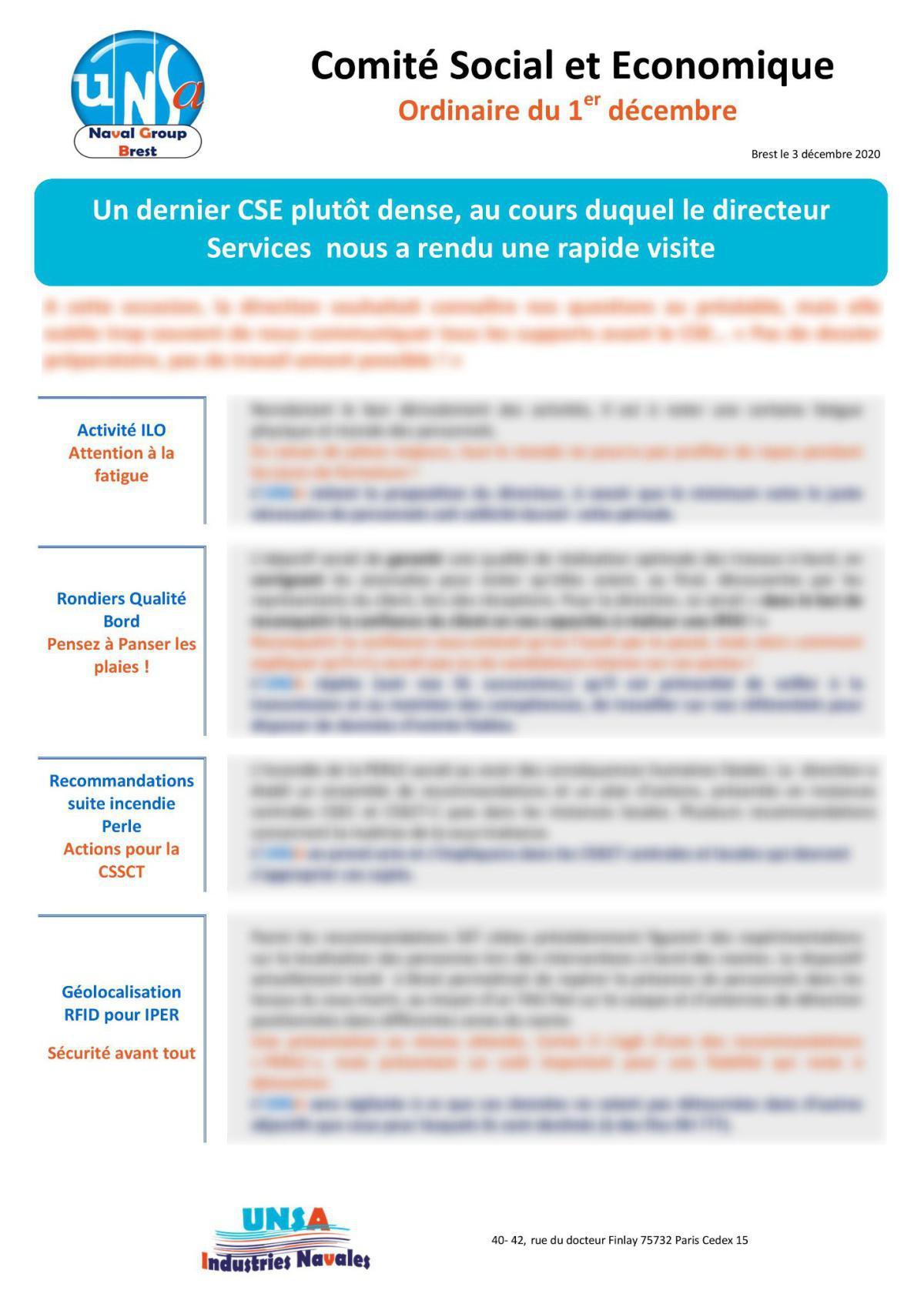 Réunion du 1er décembre 2020 - Compte Rendu