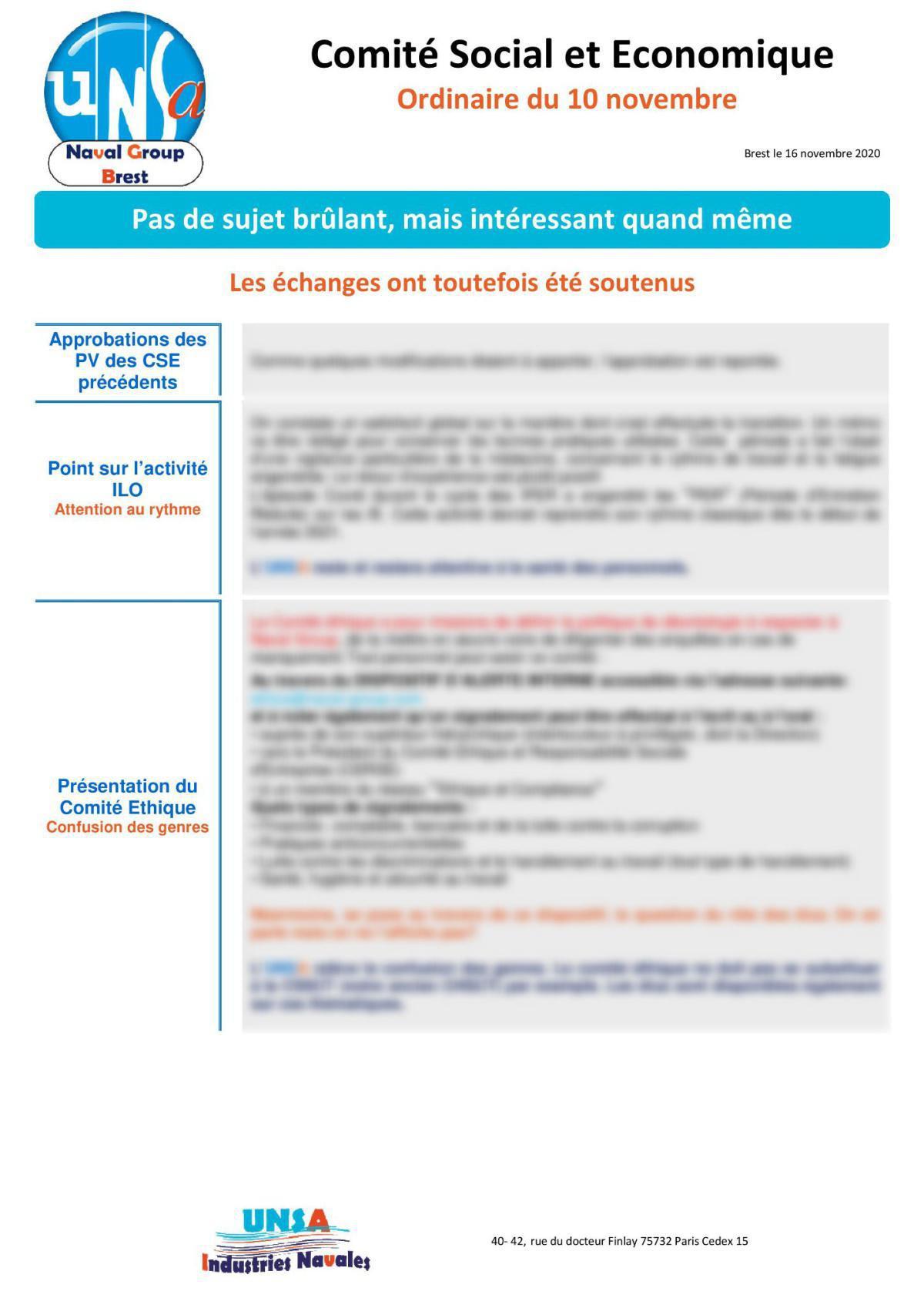 Réunion du 10 novembre 2020 - Compte Rendu