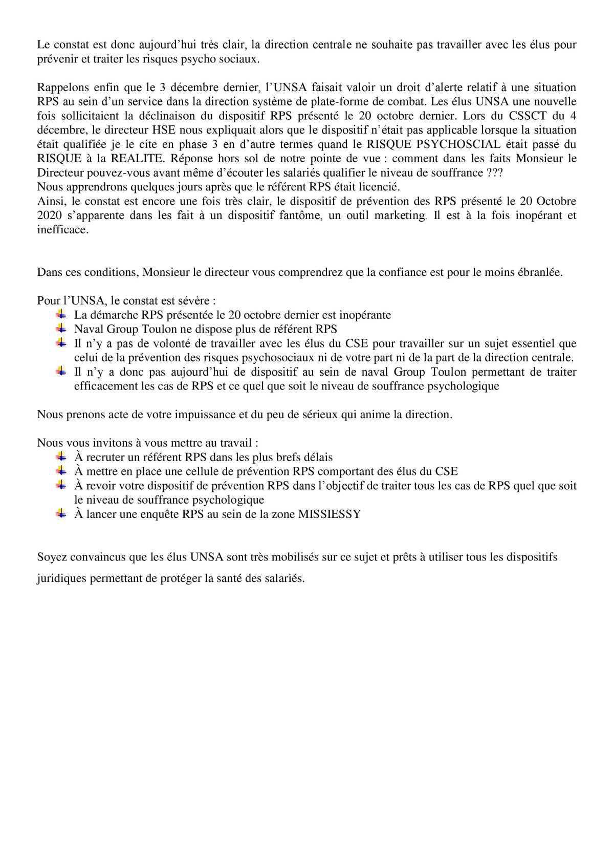Réunion du 12 janvier 2021 - Déclaration Liminaire