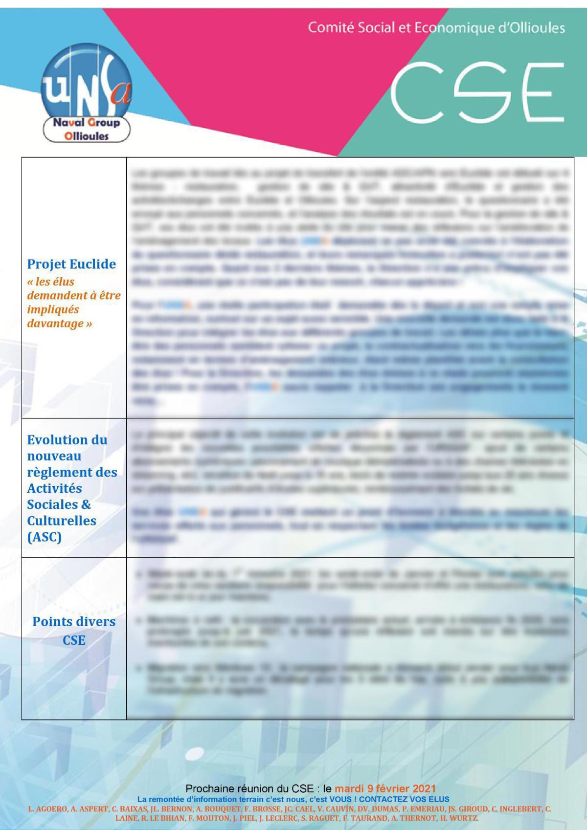 CSE d'Ollioules - réunion du 12 janvier 2021 : Un début d'année dense, l'UNSA répond présent !