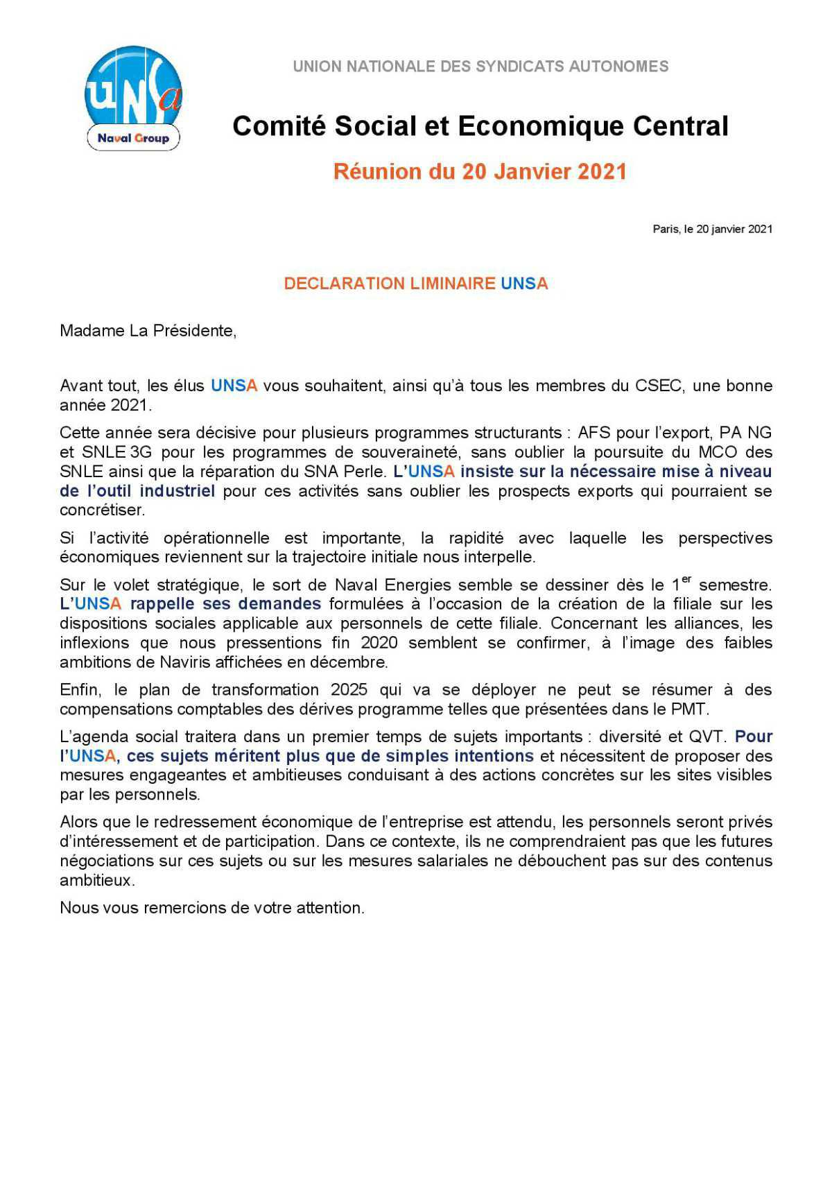 Réunion du 20 janvier 2021 - déclaration liminaire