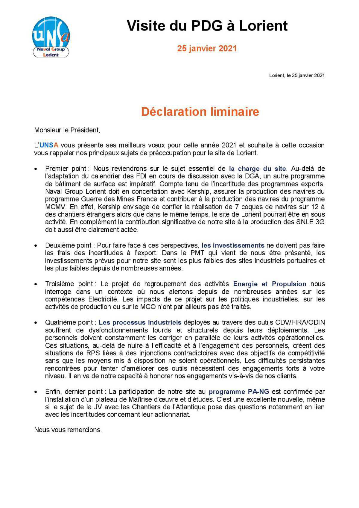 Déclaration liminaire - Visite du PDG à Lorient - 25 janvier 2021