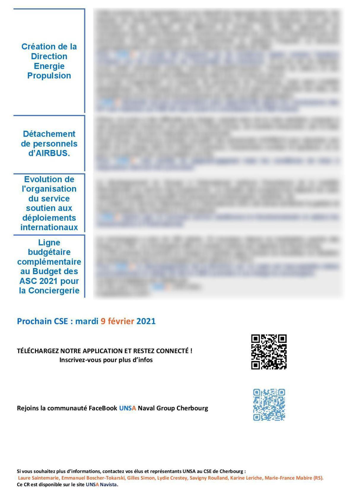 Réunion du 14 janvier 2021 - Compte Rendu