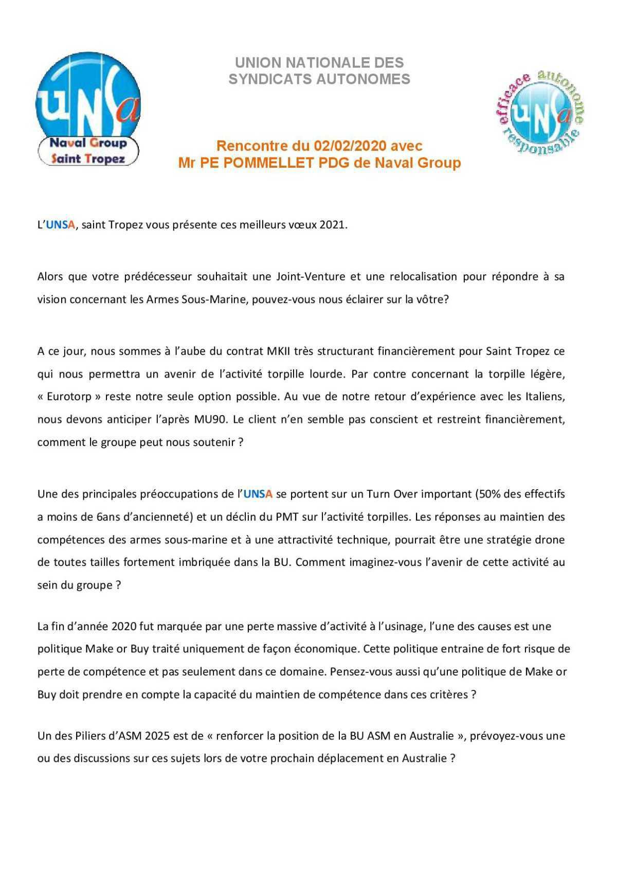 Rencontre avec le PDG - Réunion du 2 février 2021