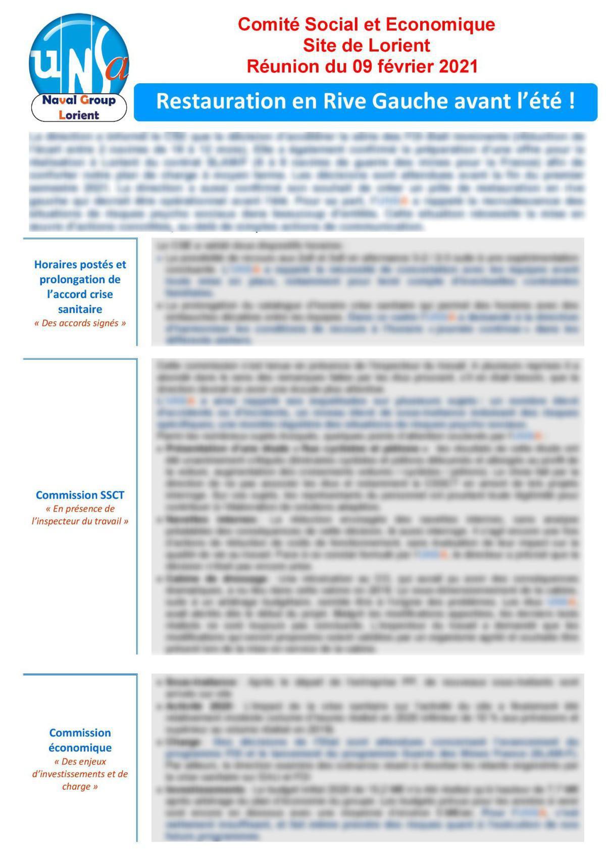 Réunion du 9 février 2021 - Compte Rendu