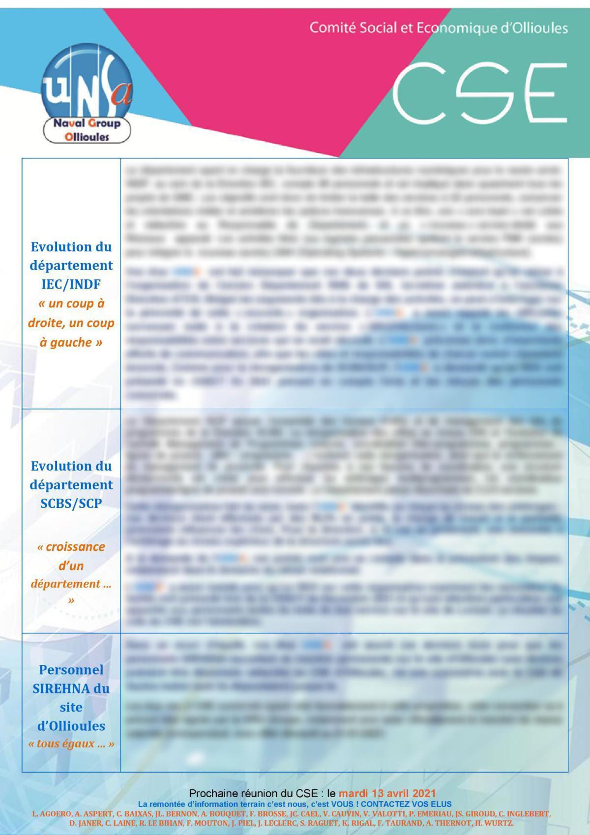 CSE d'Ollioules - réunion du 9 mars 2021
