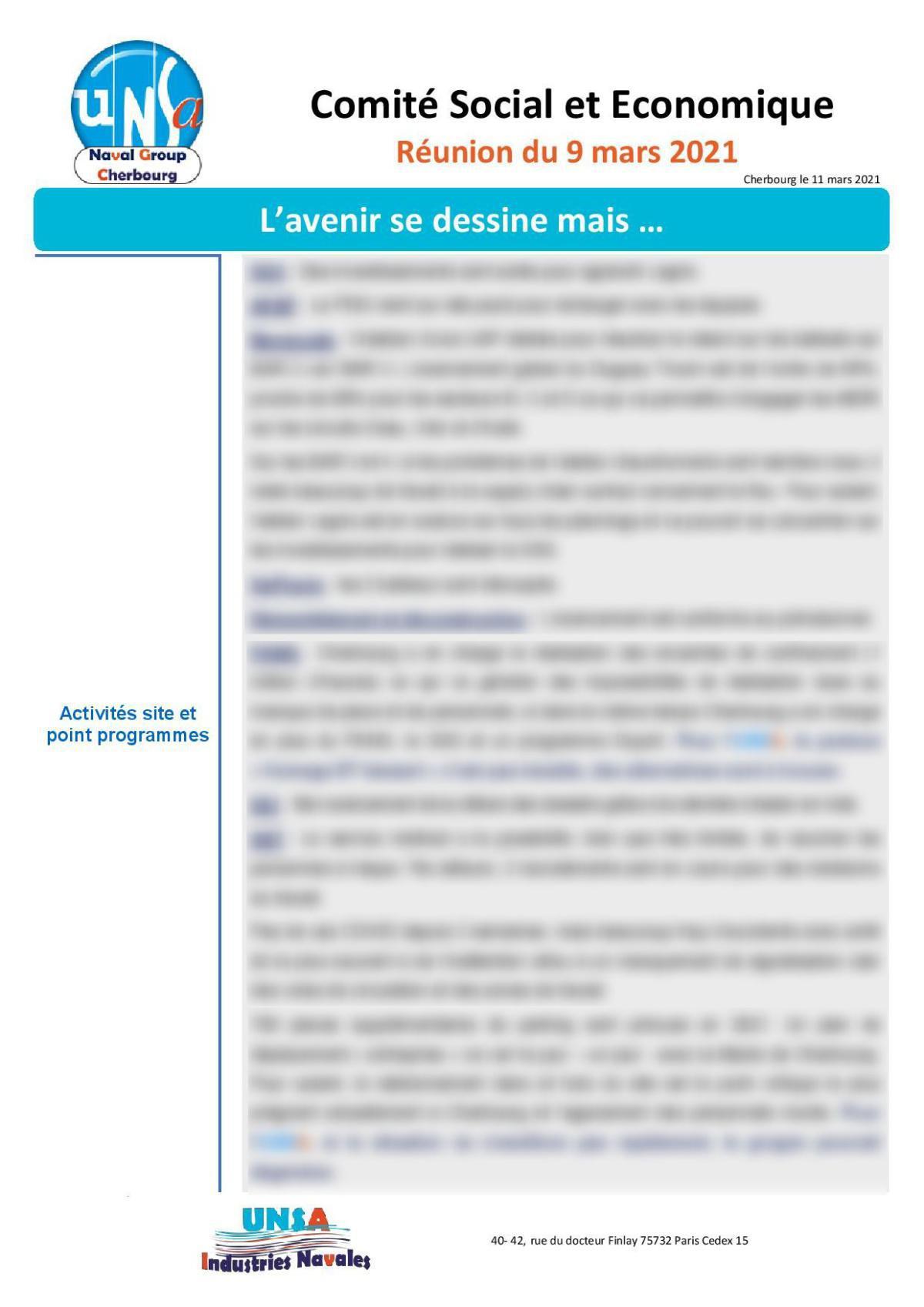 CSE de Cherbourg - Réunion du 9 mars 2021 - Compte Rendu