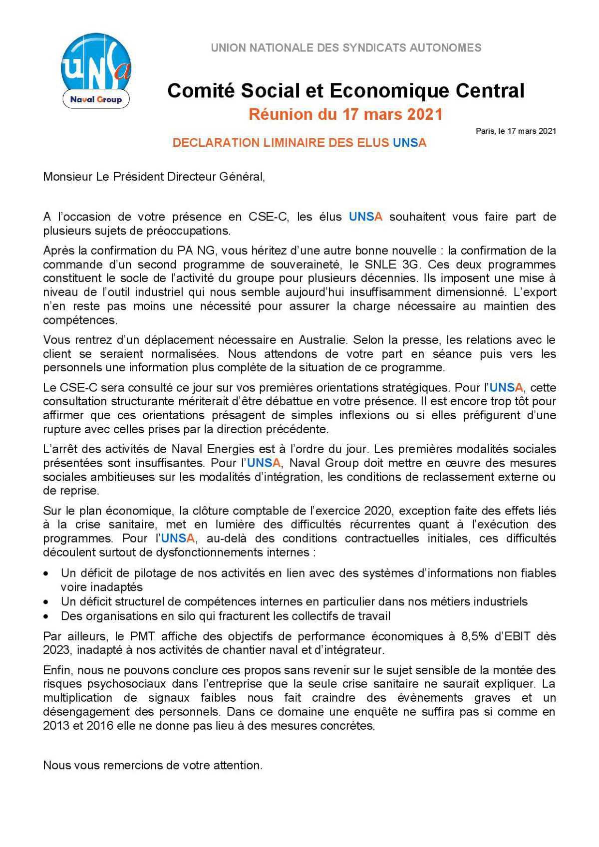Réunion du 17 mars 2021 - Déclaration liminaire
