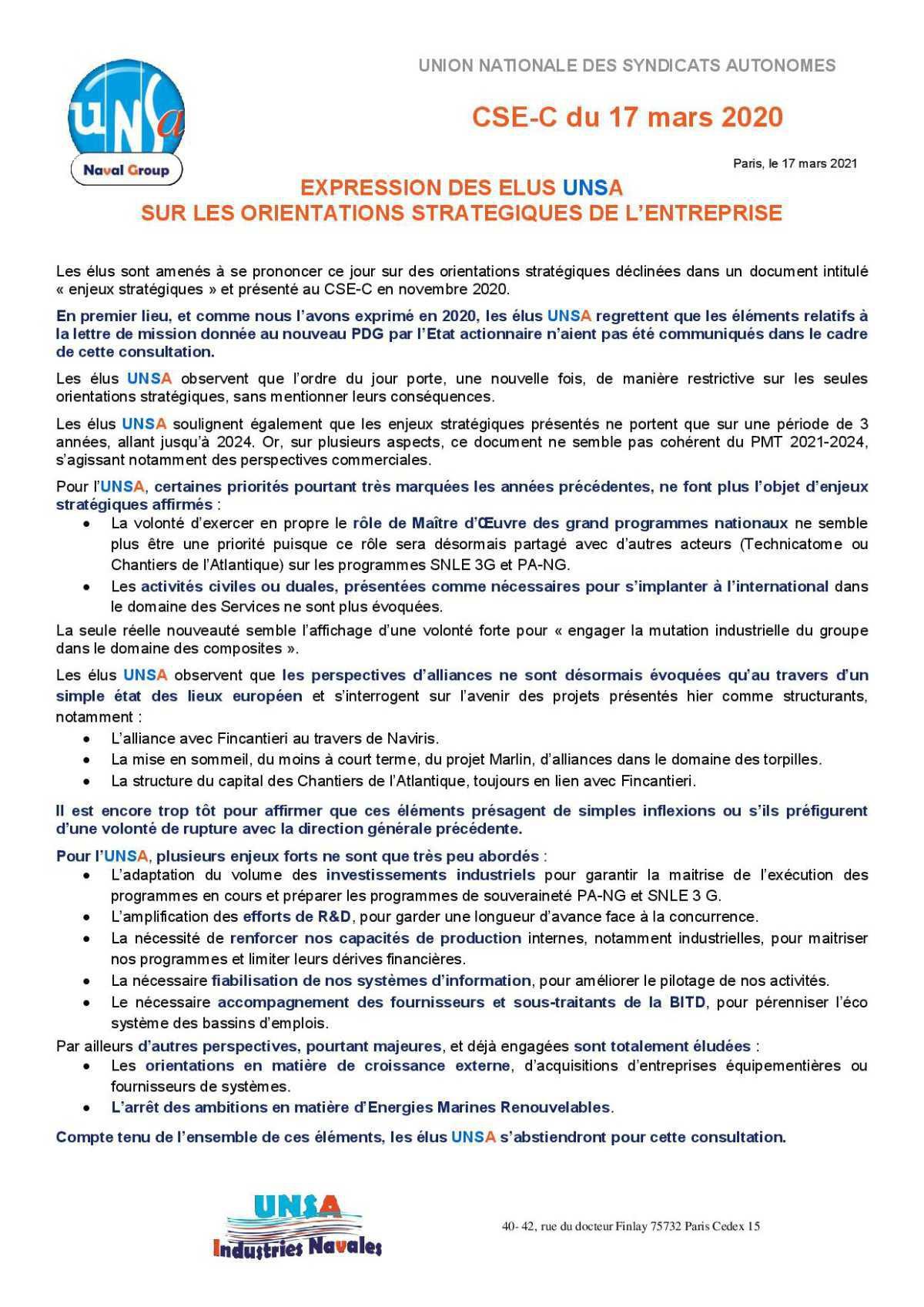 Réunion du 17 mars 2021 -Expression des élus