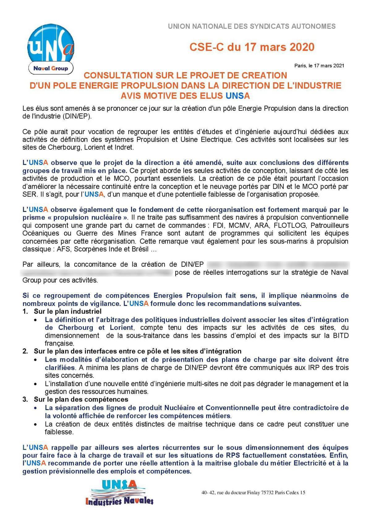 Réunion du 17 mars 2021 - Avis motivé des élus