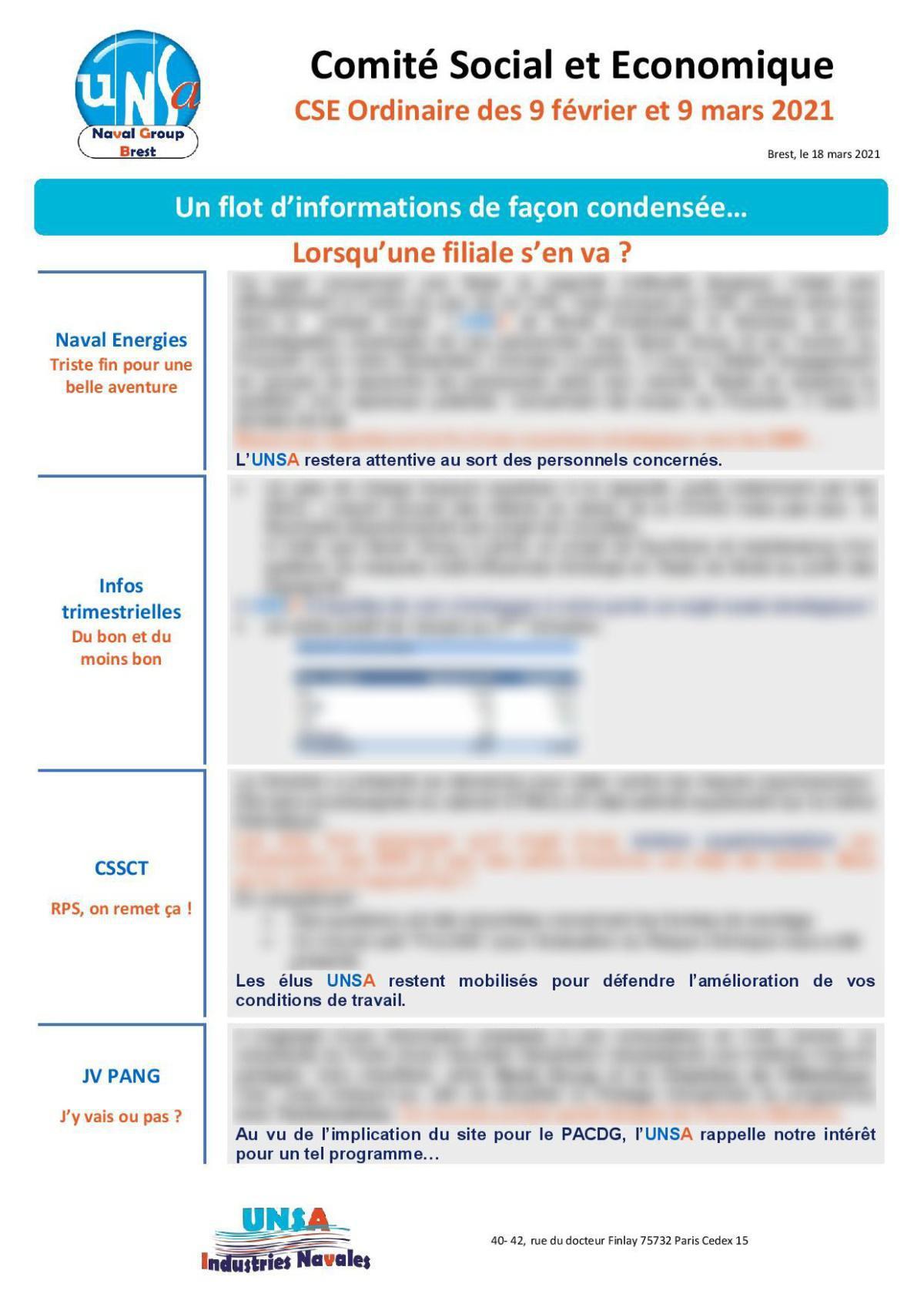 CSE de Brest - réunion du 9 février et 9 mars 2021 - Compte rendu