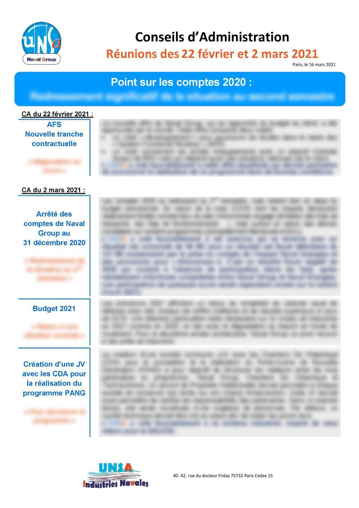 Conseil d'Administration : réunions des 22 février et 2 mars 2021