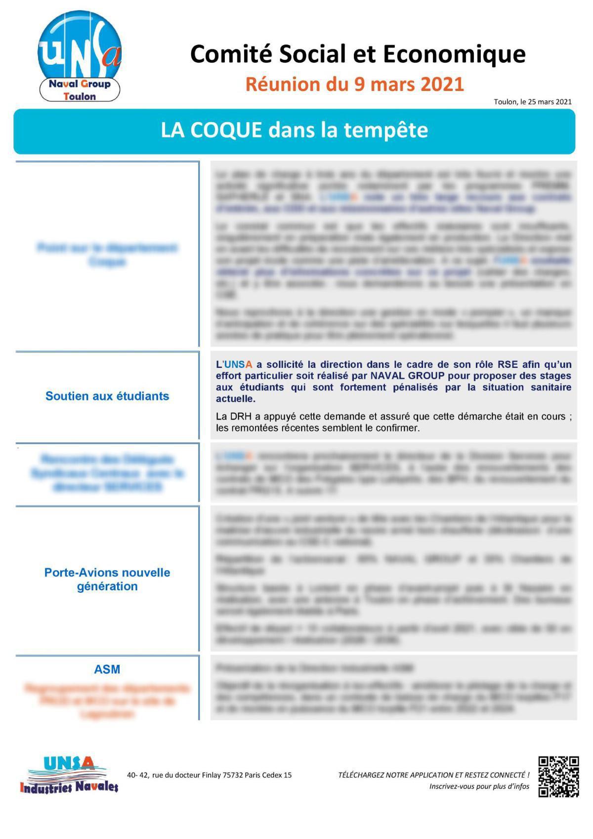 CSE de Toulon : réunion du 9 mars 2021 - Compte Rendu