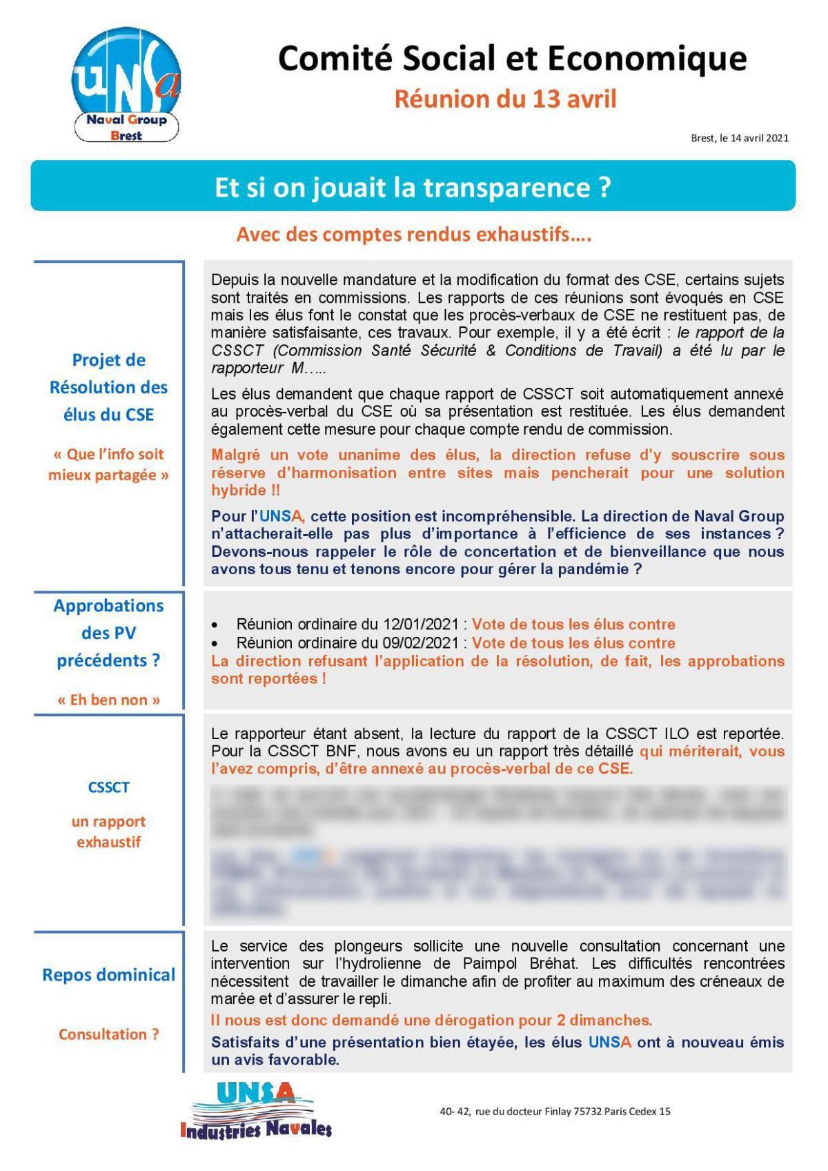 CSE de Brest - réunion du 13 avril 2021 - Compte rendu