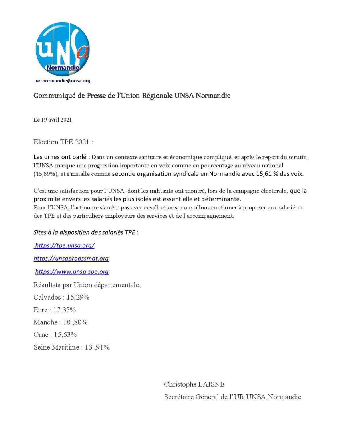 Élections TPE : l'UNSA s'installe comme seconde organisation syndicale en Normandie.