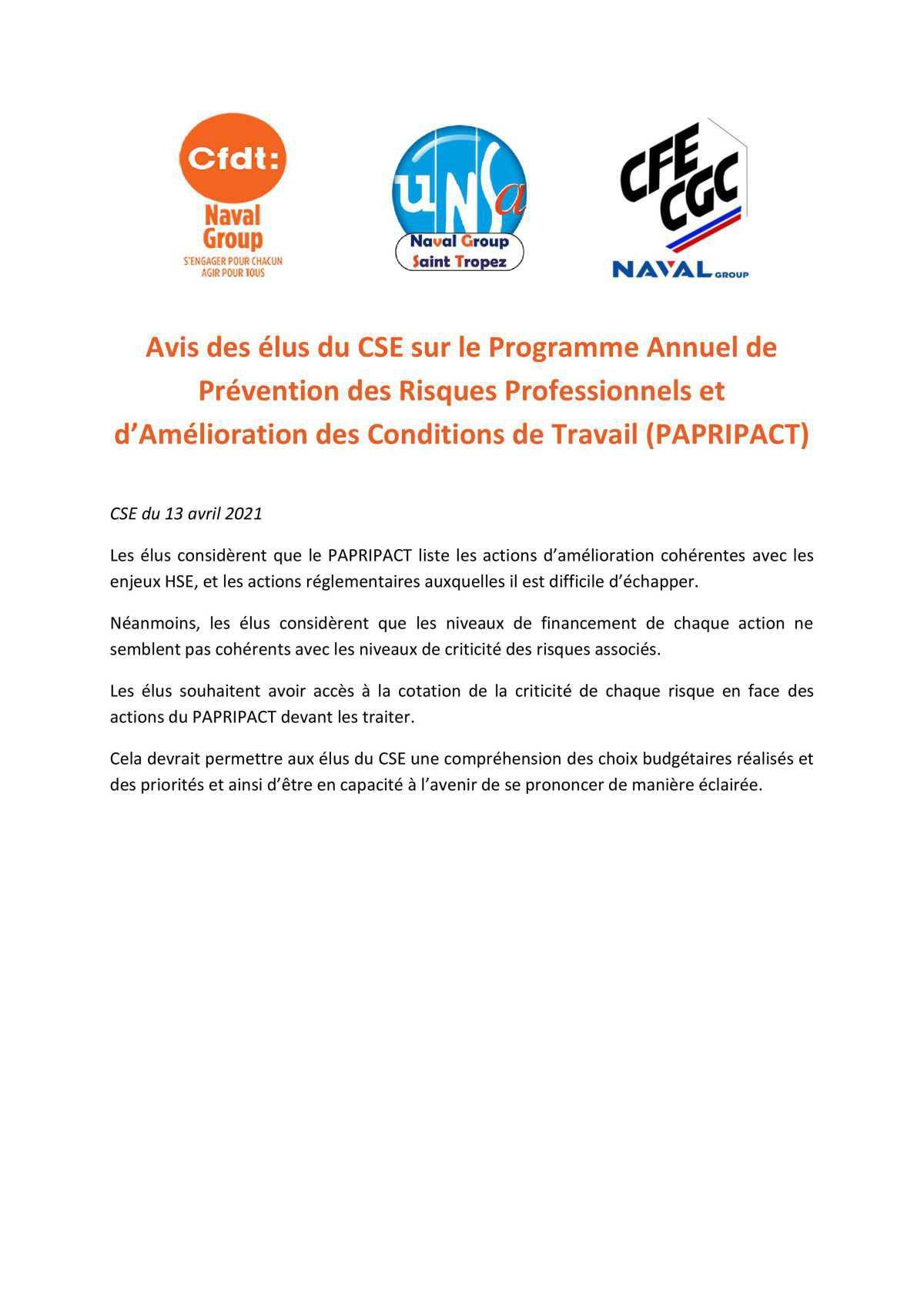 Réunion du 13 avril 2021 - avis des élus du CSE sur le PAPRIPACT