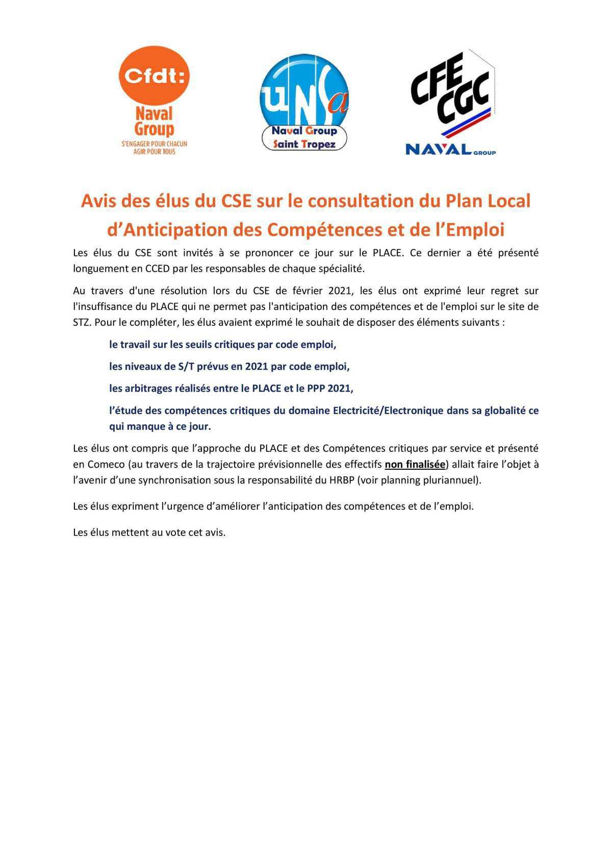 Réunion du 13 avril 2021 - avis des élus du CSE sur le PLACE
