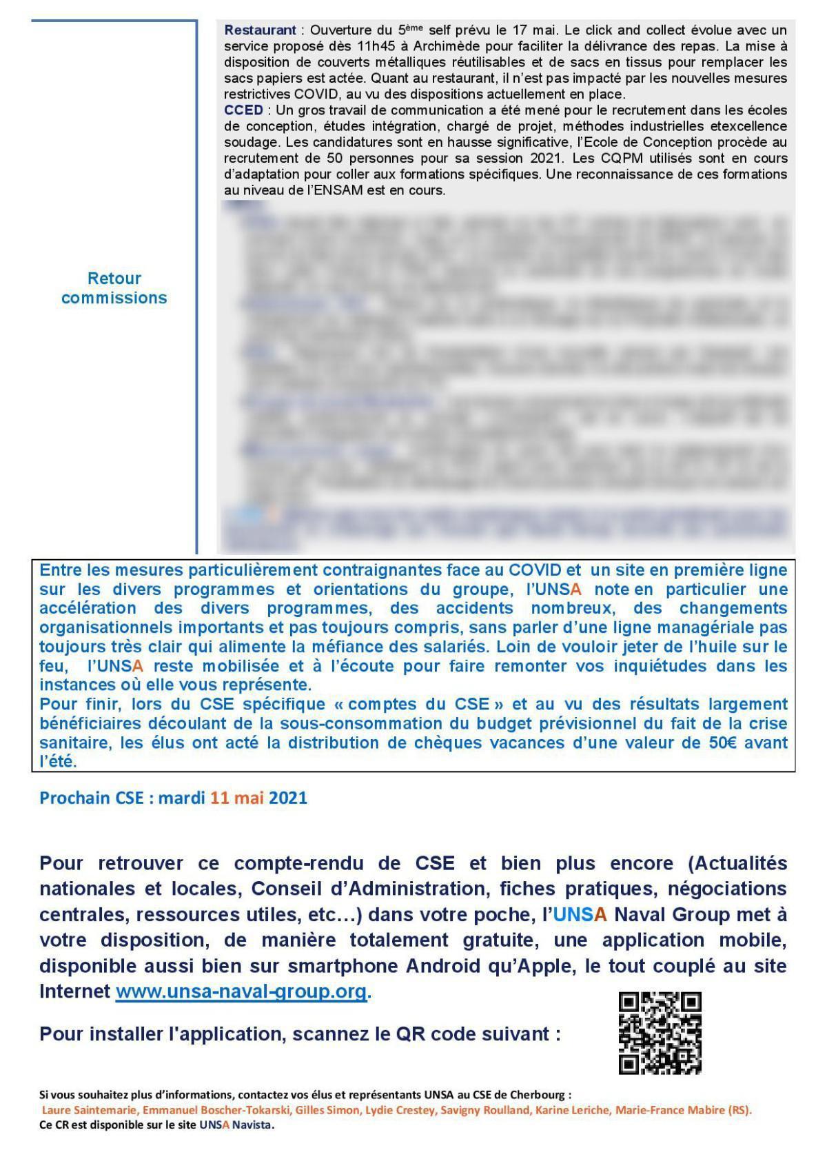 CSE de Cherbourg - Réunion du 13 avril 2021 - Compte rendu