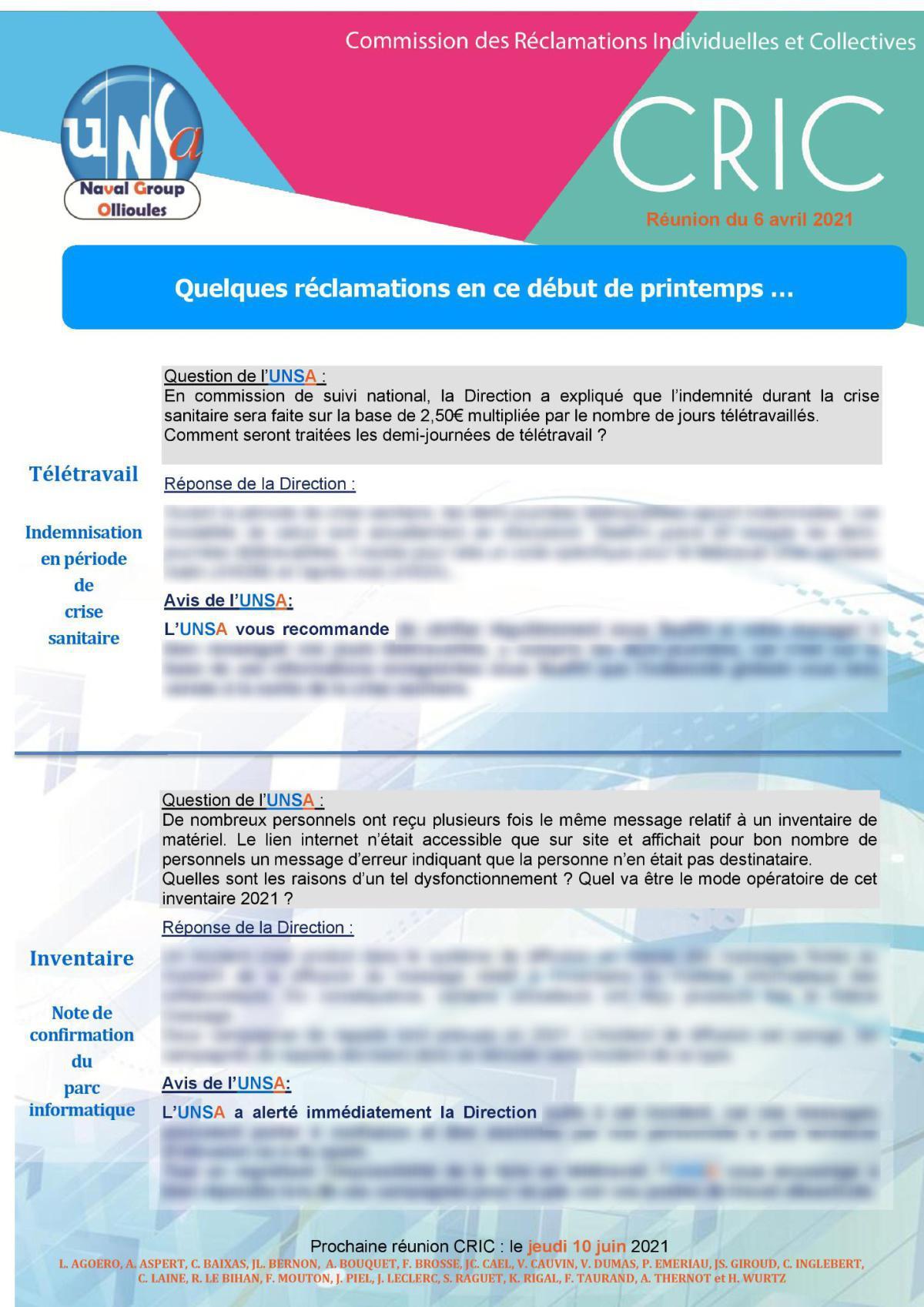 CRIC Ollioules - réunion du 6 avril 2021