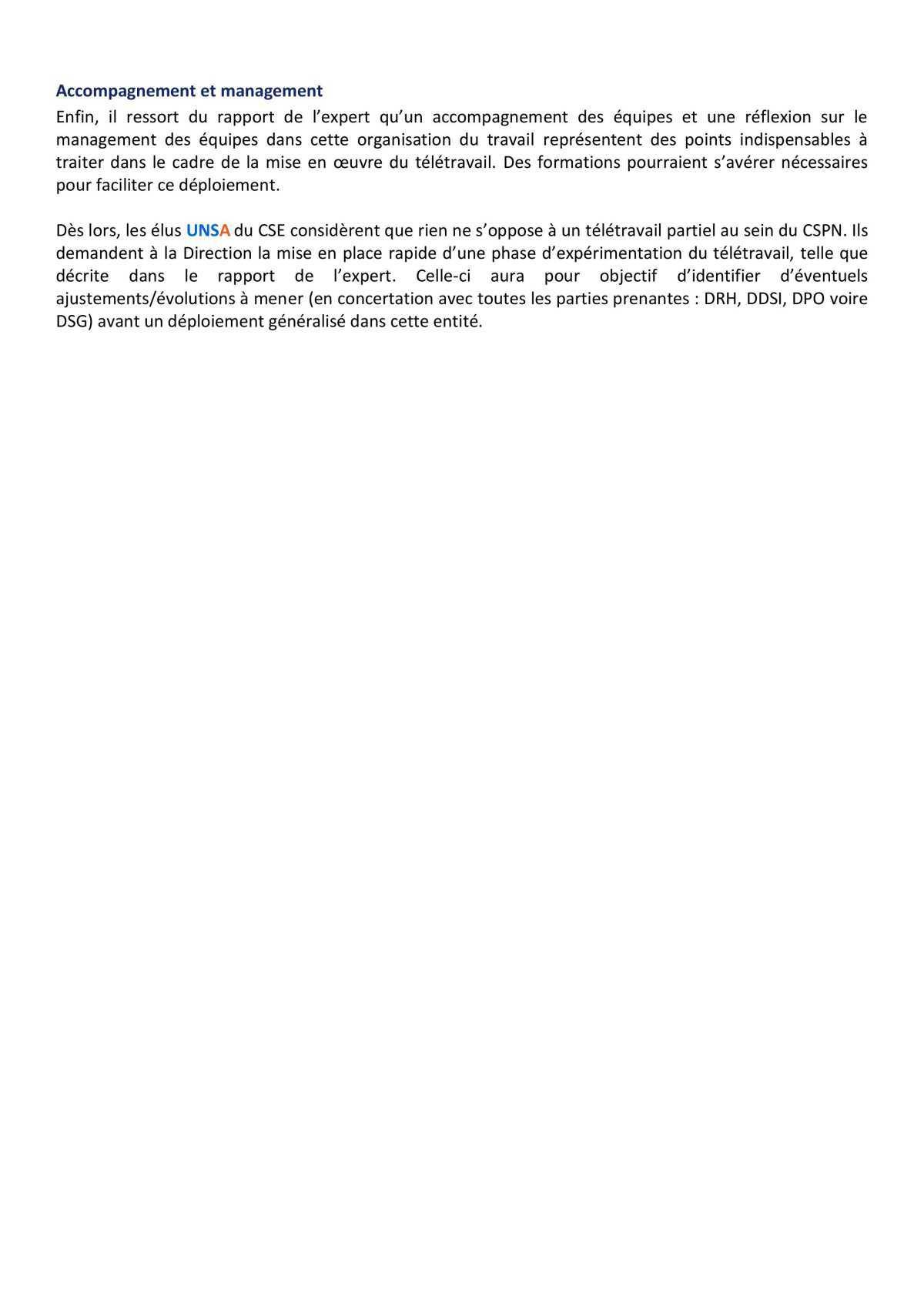 CSE d'Ollioules - réunion du 11 mai 2021 - résolution UNSA concernant le télétravail au CSPN
