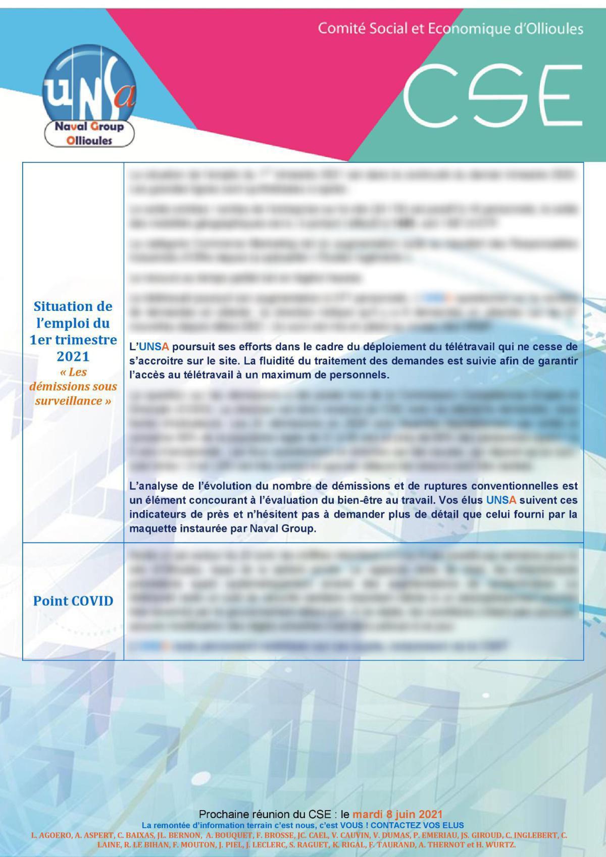 CSE d'Ollioules - réunion du 11 mai 2021