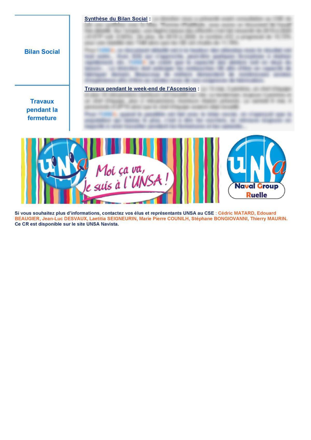 CSE de Ruelle - Réunion du 11 mai 2021 - Compte rendu