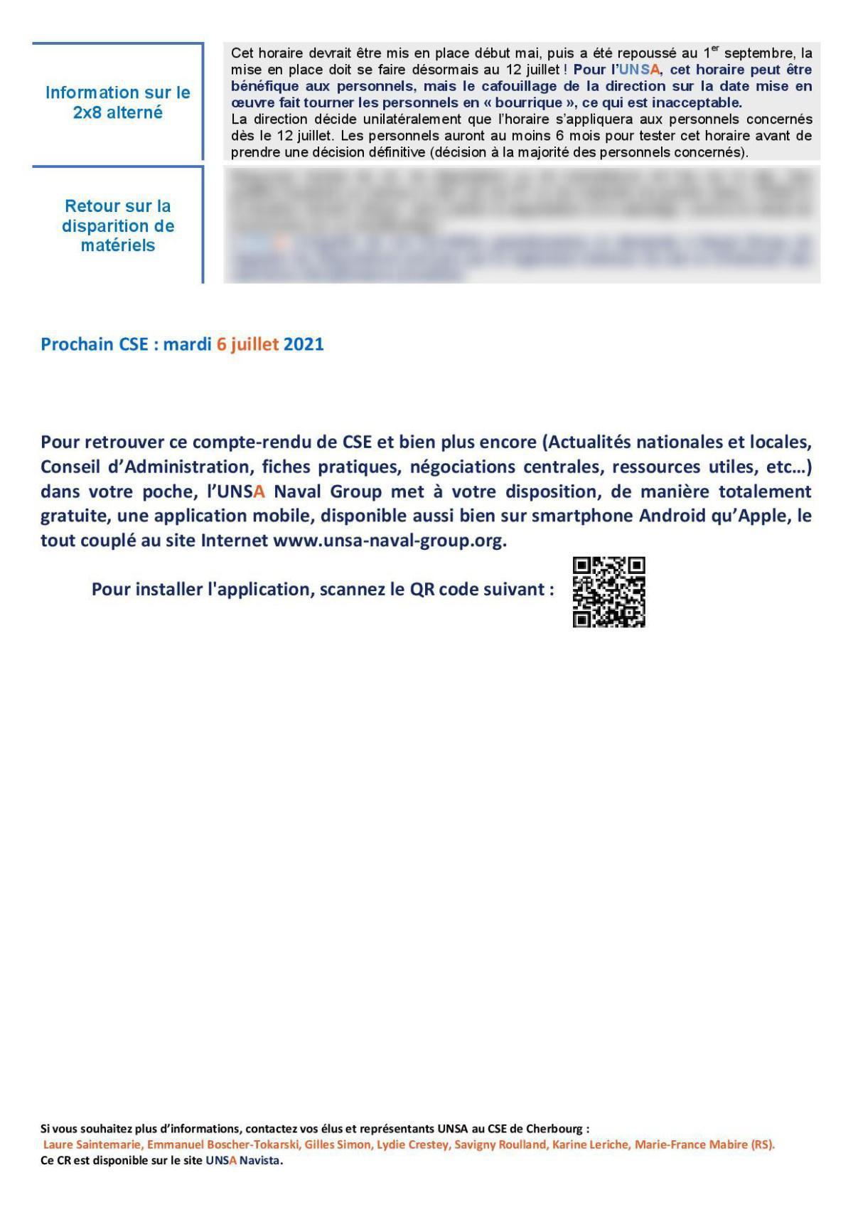 CSE de Cherbourg - Réunion du 3 juin 2021 - Compte rendu