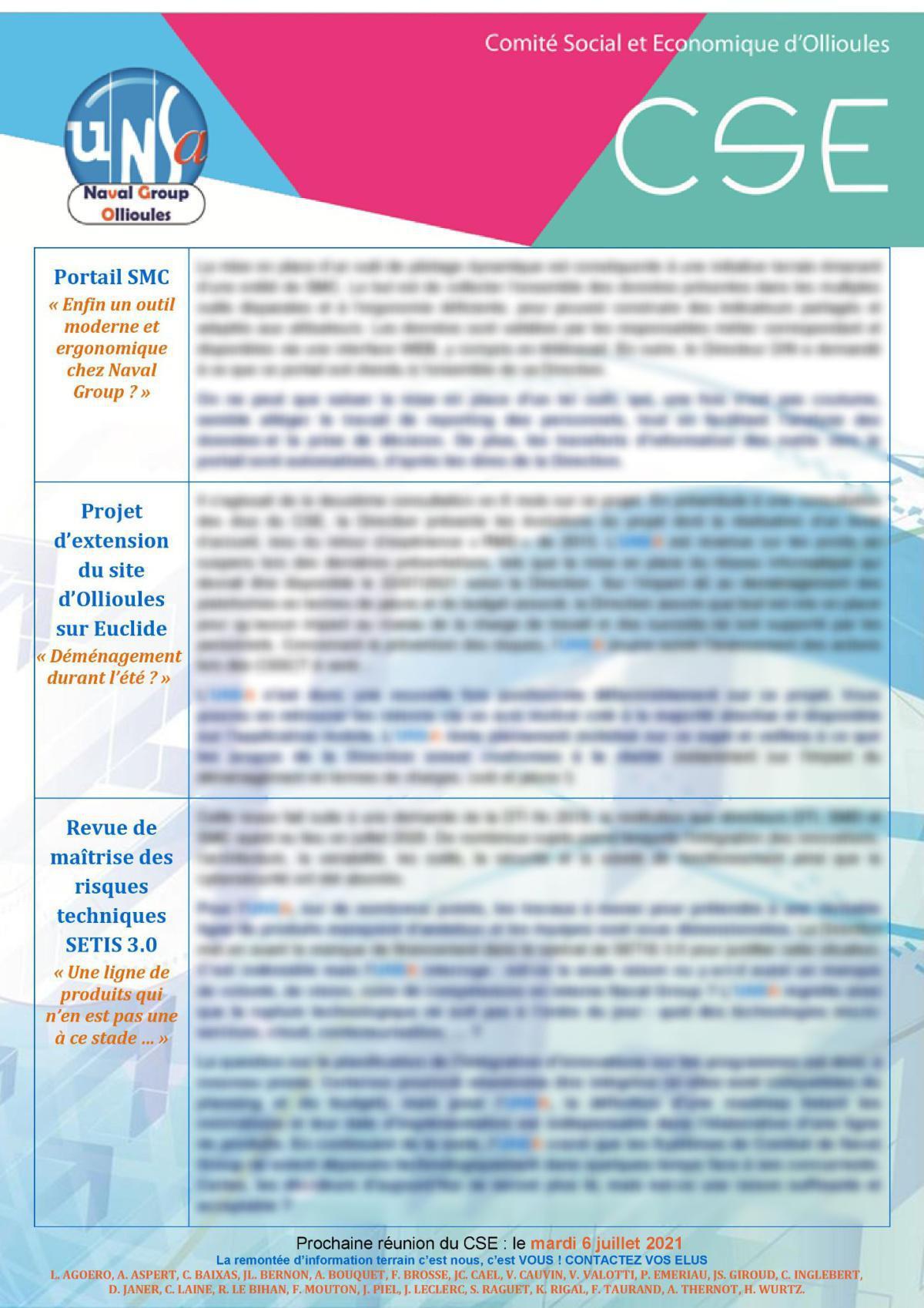 CSE d'Ollioules - réunions des 4 et 8 juin 2021