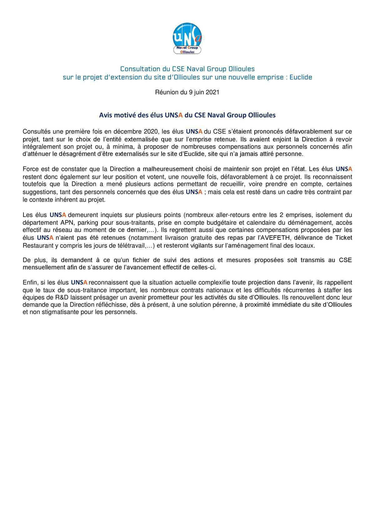 CSE d'Ollioules - réunion du 8 juin 2021 - consultation sur le projet d'extension du site d'Ollioules sur une nouvelle emprise : Euclide