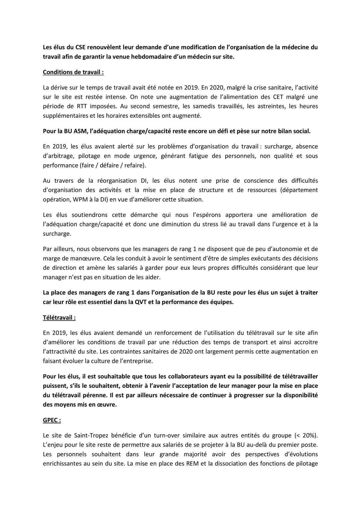Réunion du 8 juin 2021 - consultation du CSE sur le bilan social 2020