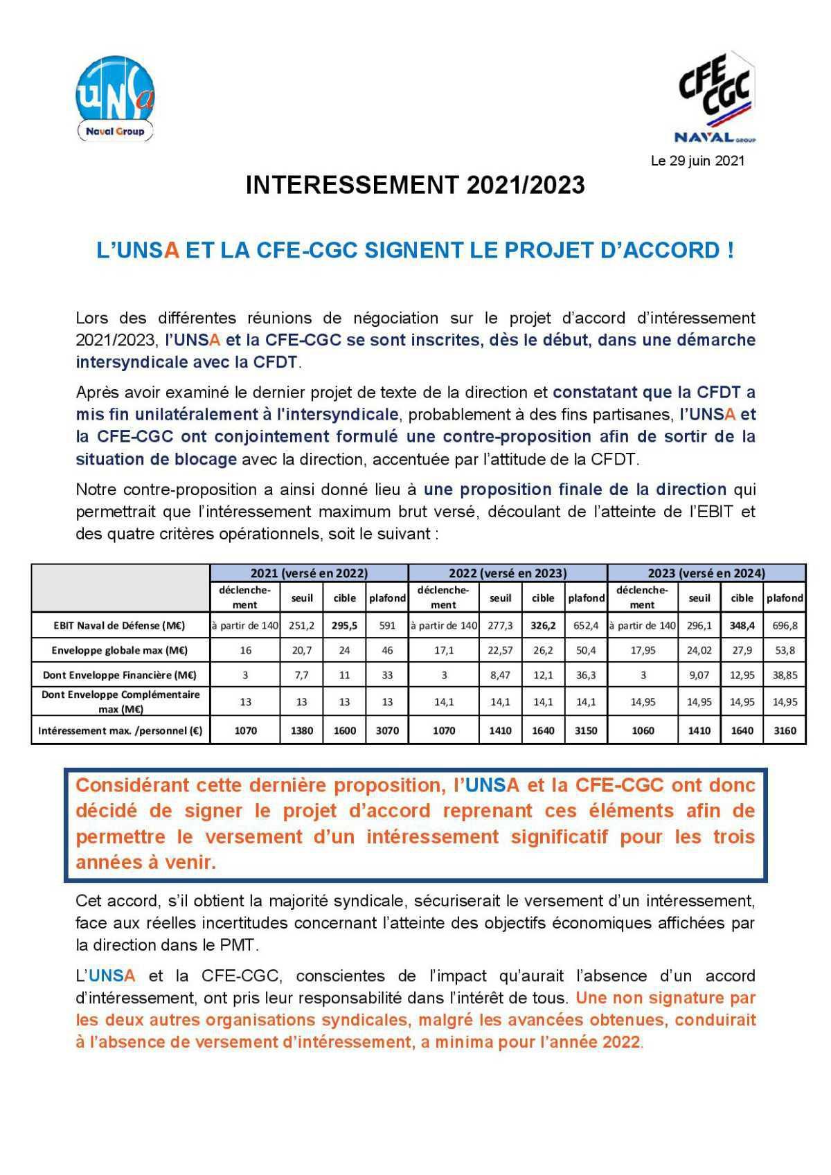 L'UNSA ET LA CFE-CGC SIGNENT LE PROJET D'ACCORD !
