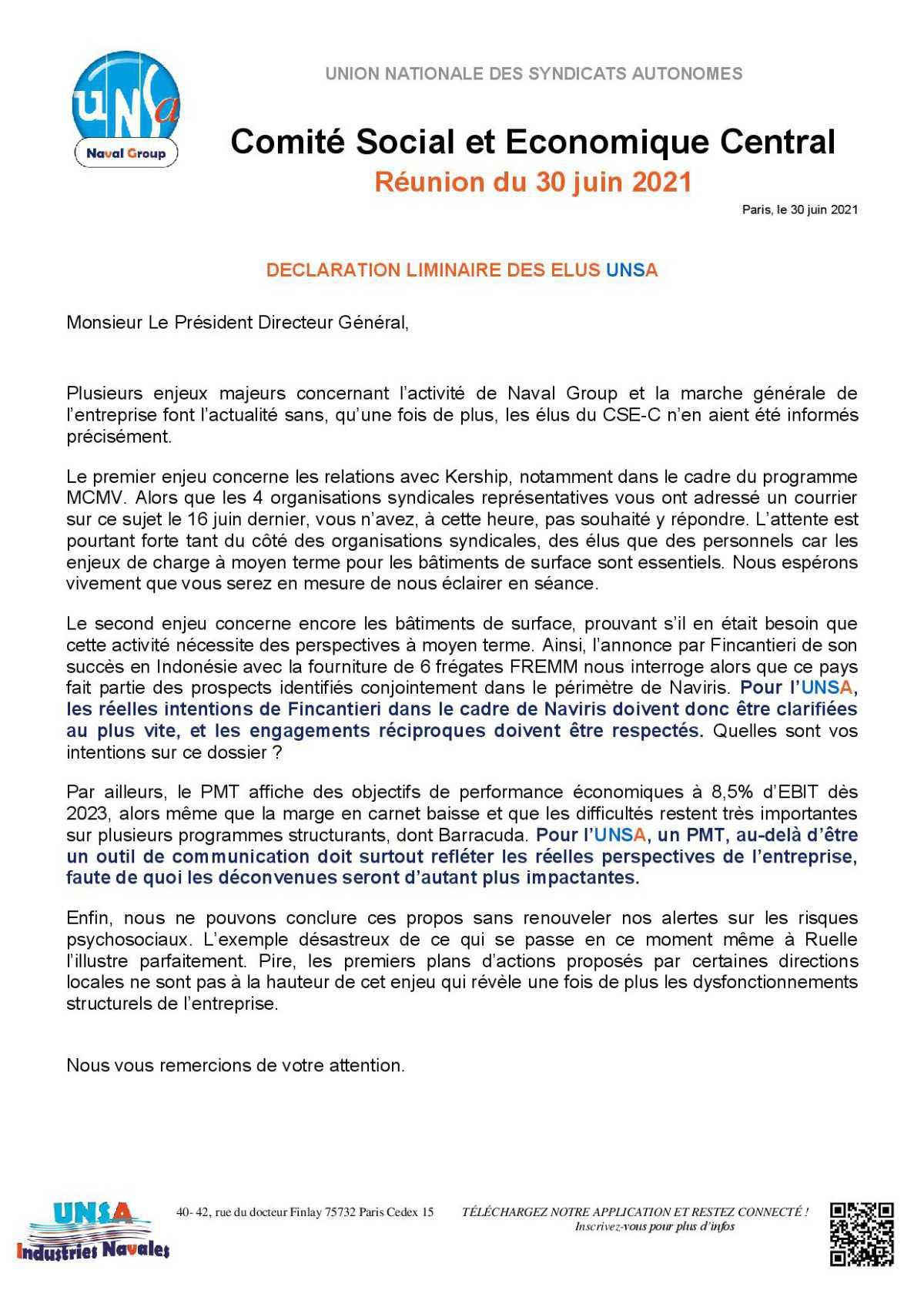 Réunion du 30 juin 2021 - Déclaration liminaire
