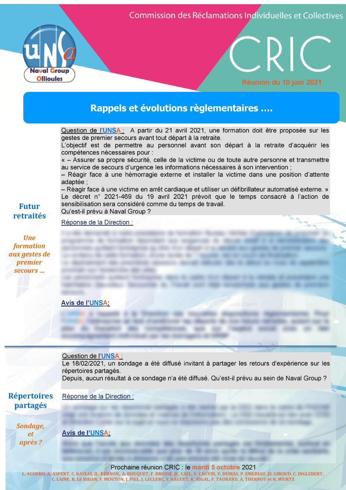 CRIC Ollioules - réunion du 10 juin 2021
