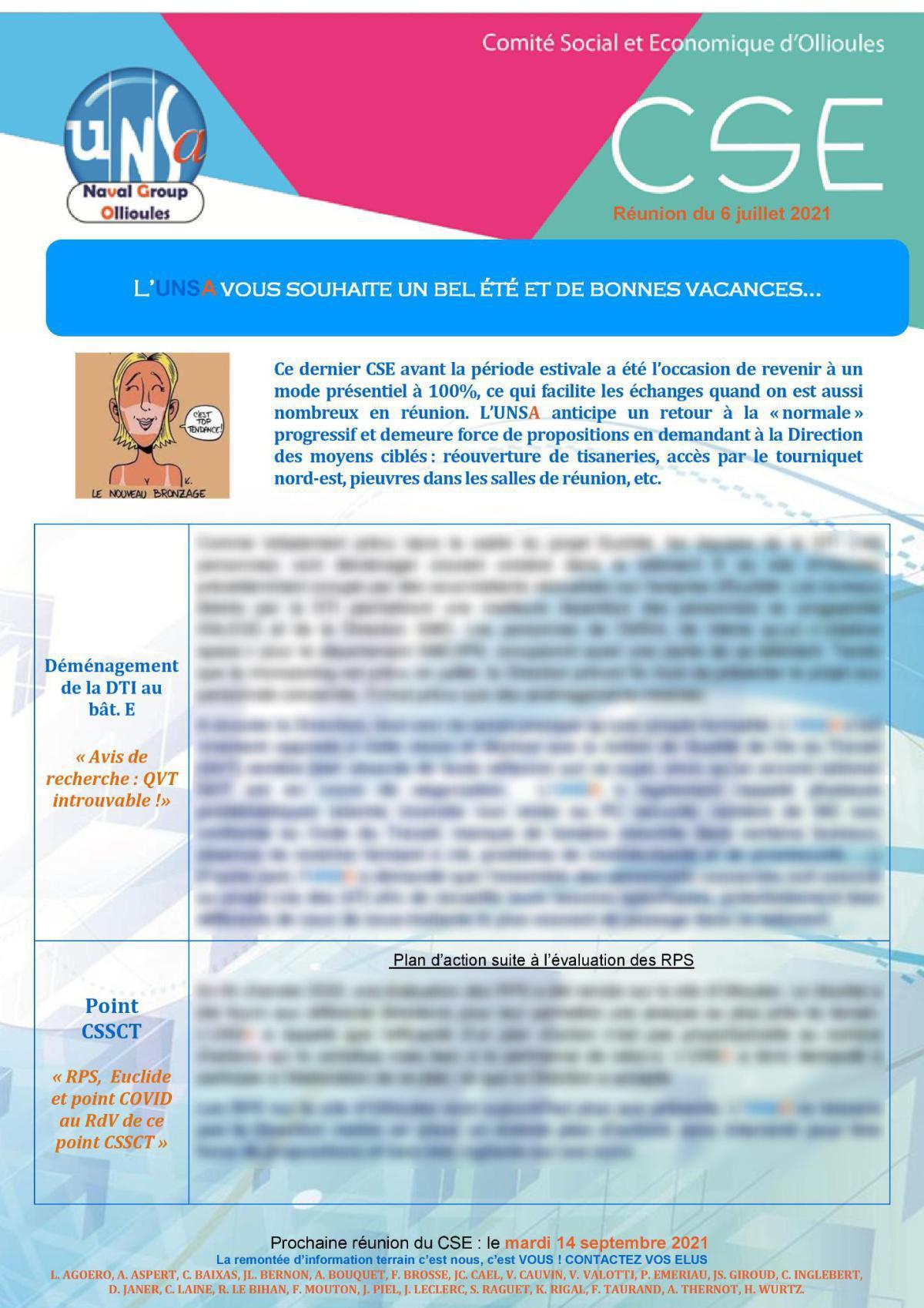 CSE d'Ollioules - réunion du 6 juillet 2021