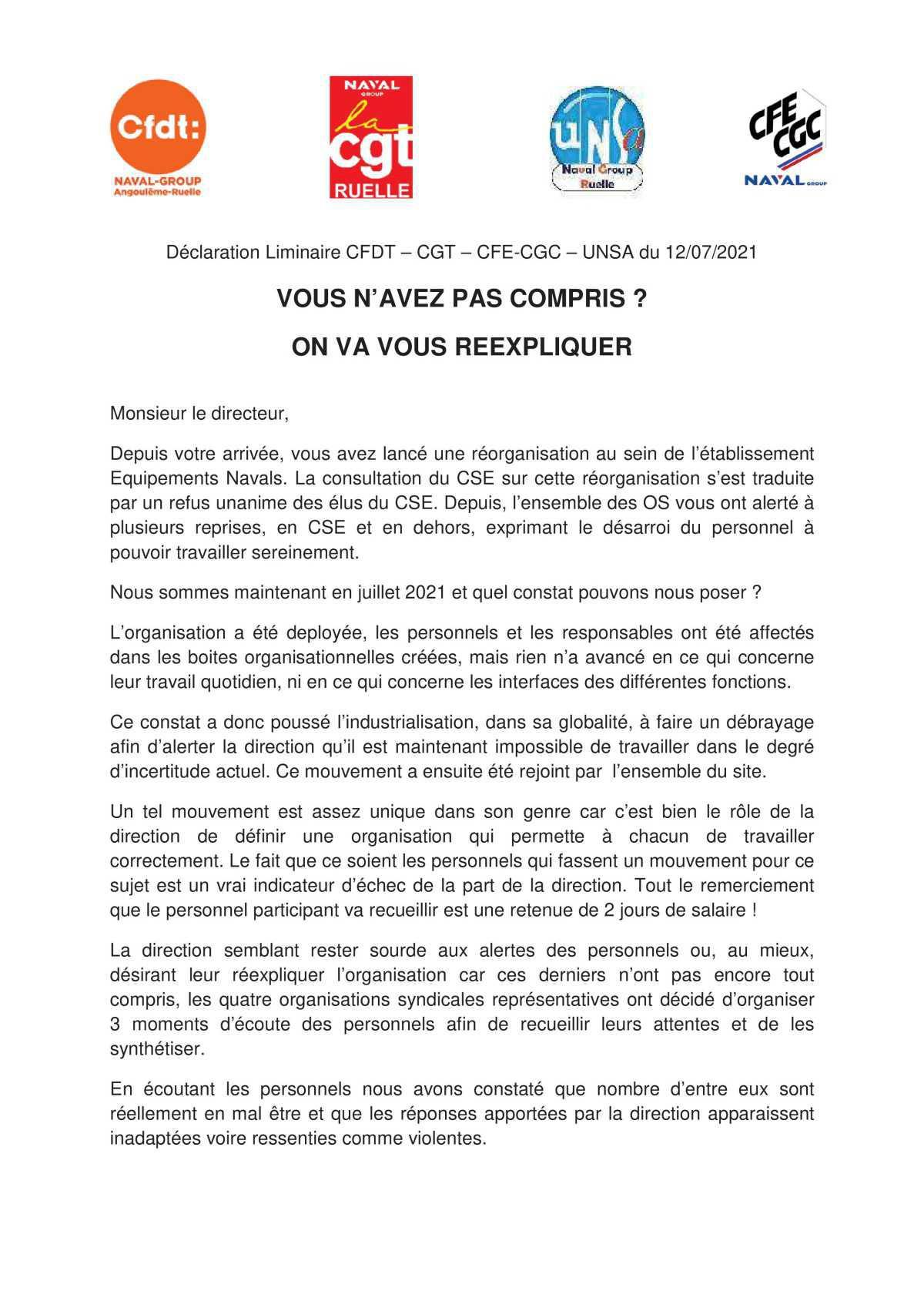 CSE de Ruelle - réunion du 13 juillet 2021 - Déclaration liminaire