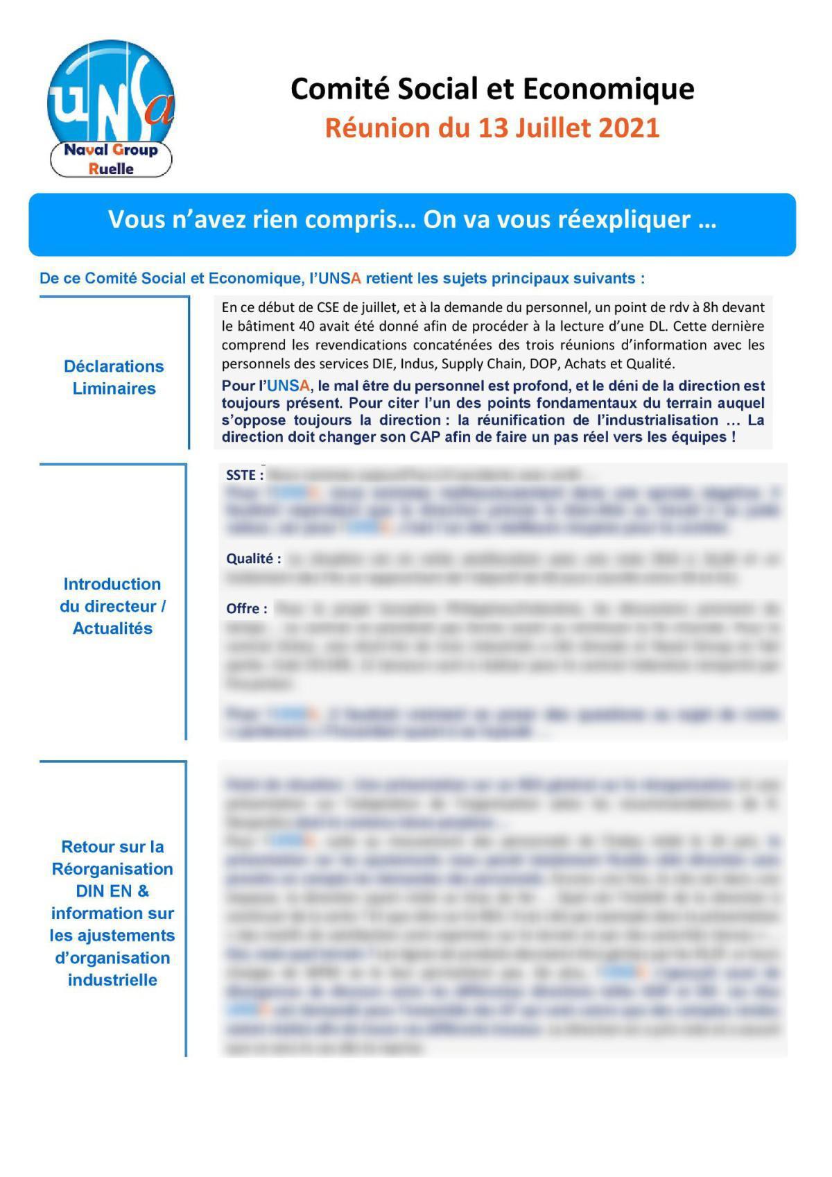 CSE de Ruelle - Réunion du 13 juillet 2021 - Compte rendu