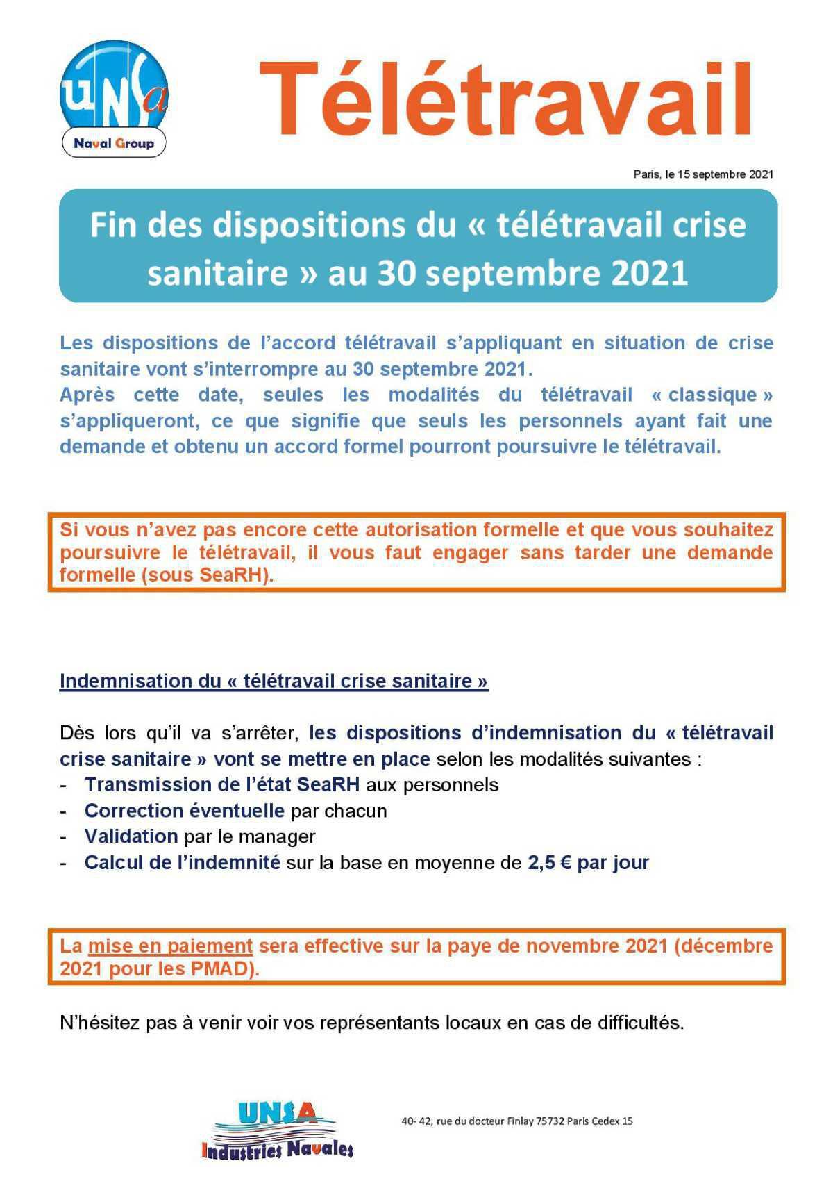 Télétravail : Fin des dispositions du « télétravail crise sanitaire » au 30 septembre 2021
