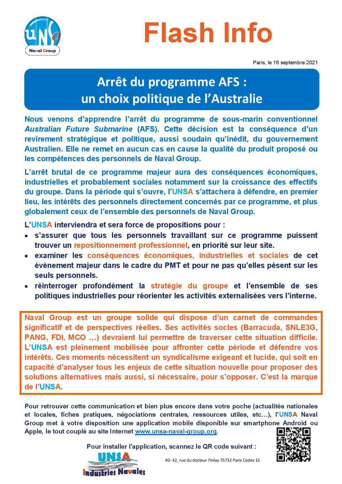 Arrêt du programme AFS : un choix politique de l'Australie