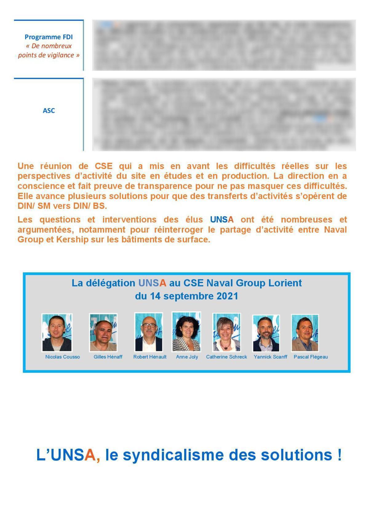CSE de Lorient - réunion du 14 septembre 2021 - Compte rendu