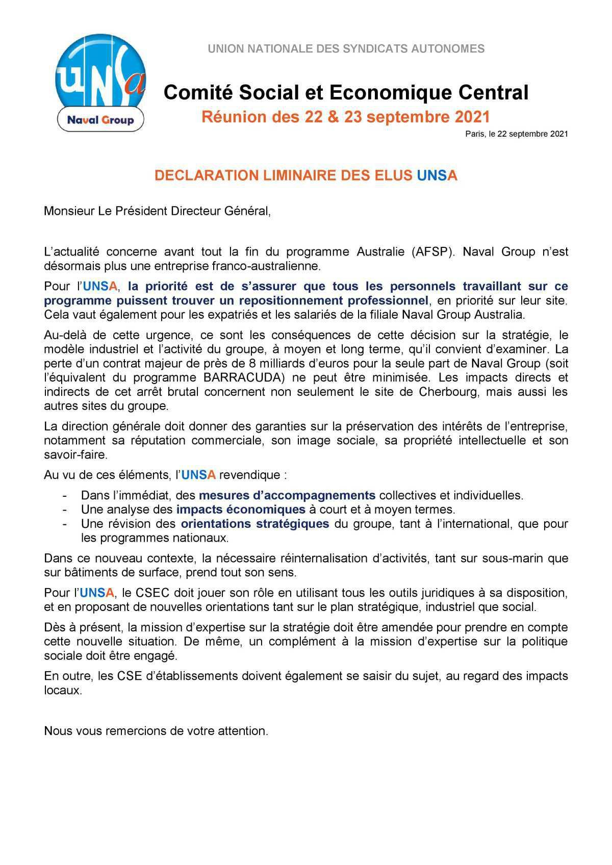 Réunion du 22 septembre 2021 - Déclaration liminaire