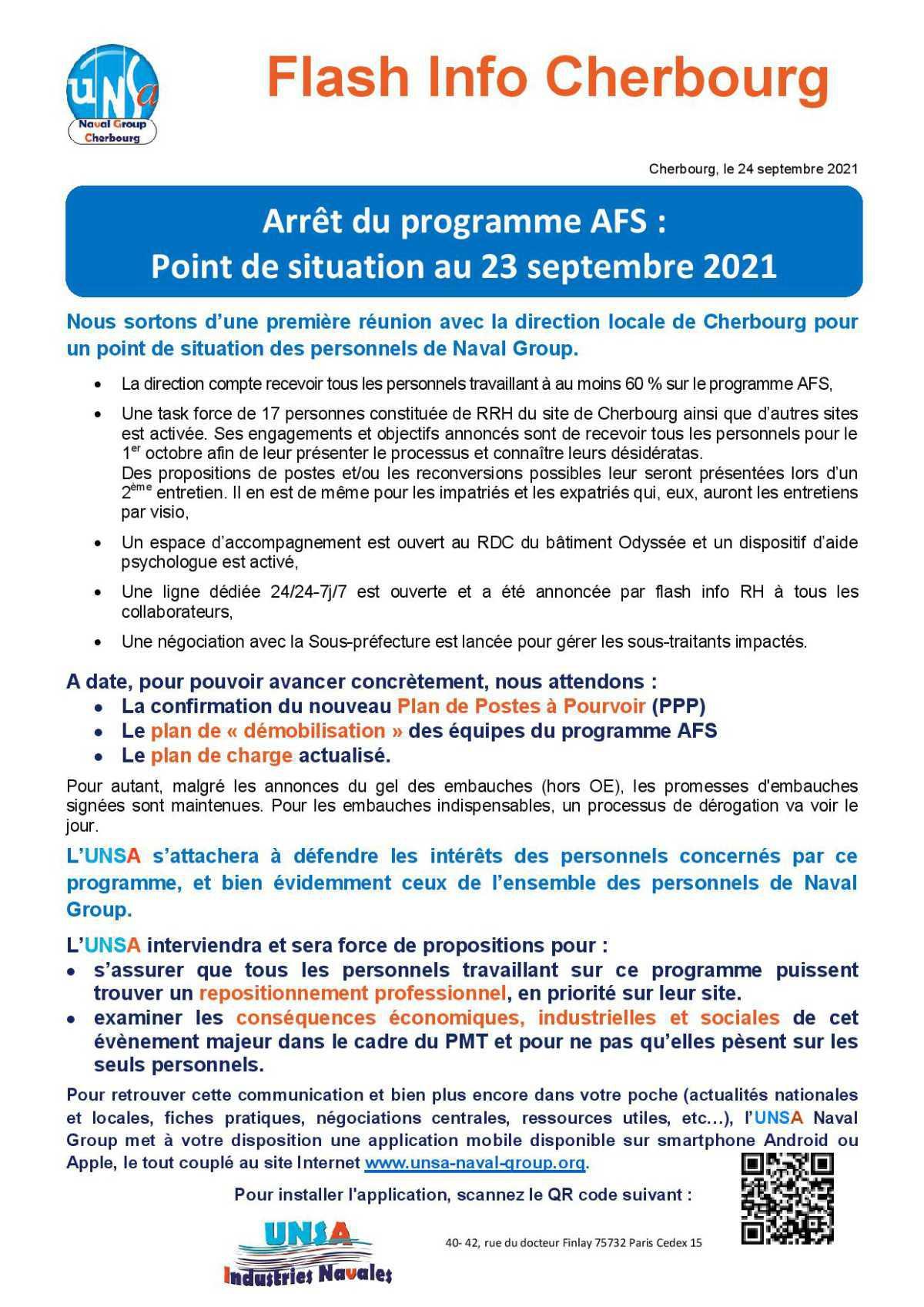 Arrêt du programme AFS : Point de situation au 23 septembre 2021