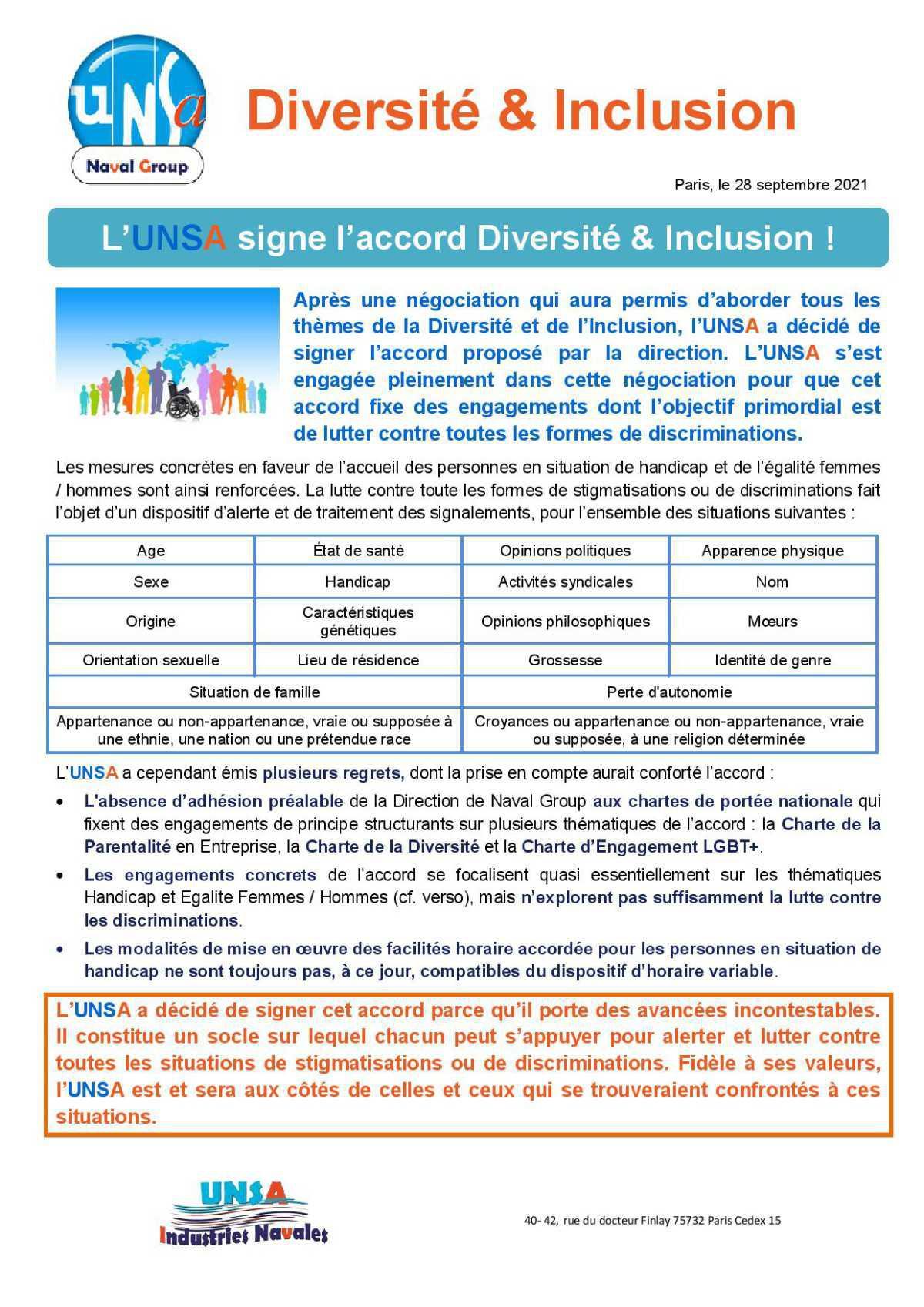 Accord Diversité et Inclusion - Septembre 2021