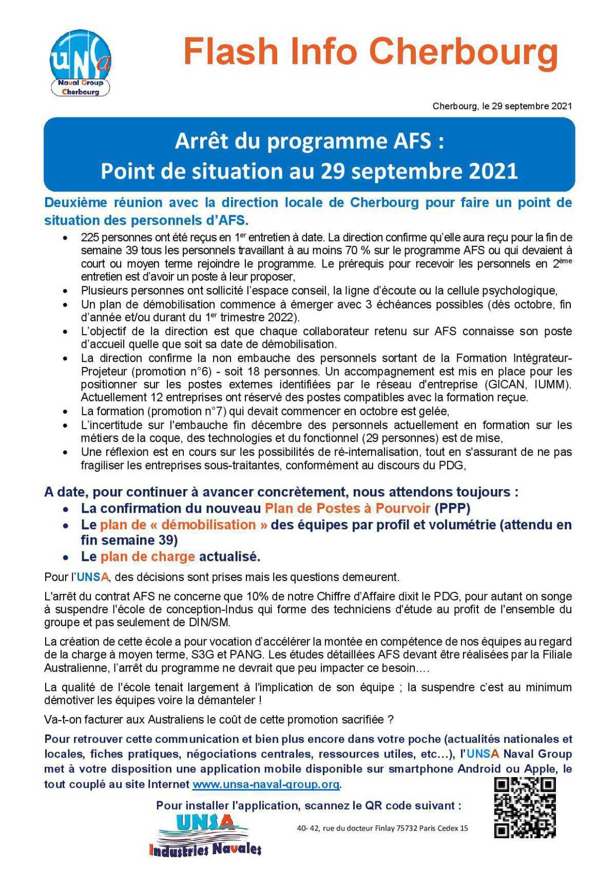 Arrêt du programme AFS : Point de situation au 29 septembre 2021