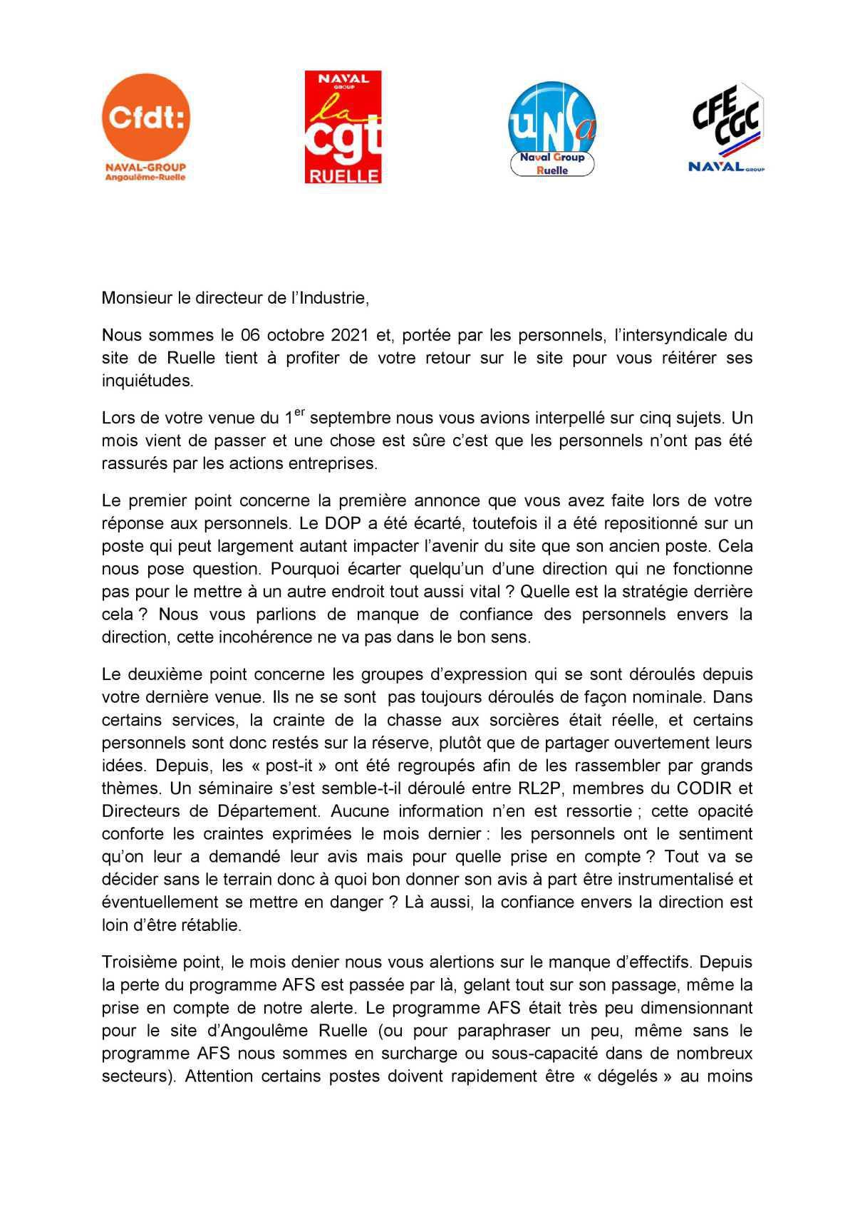 Visite de Laurent Espinasse - 6 octobre 2021 - Déclaration liminaire des OS