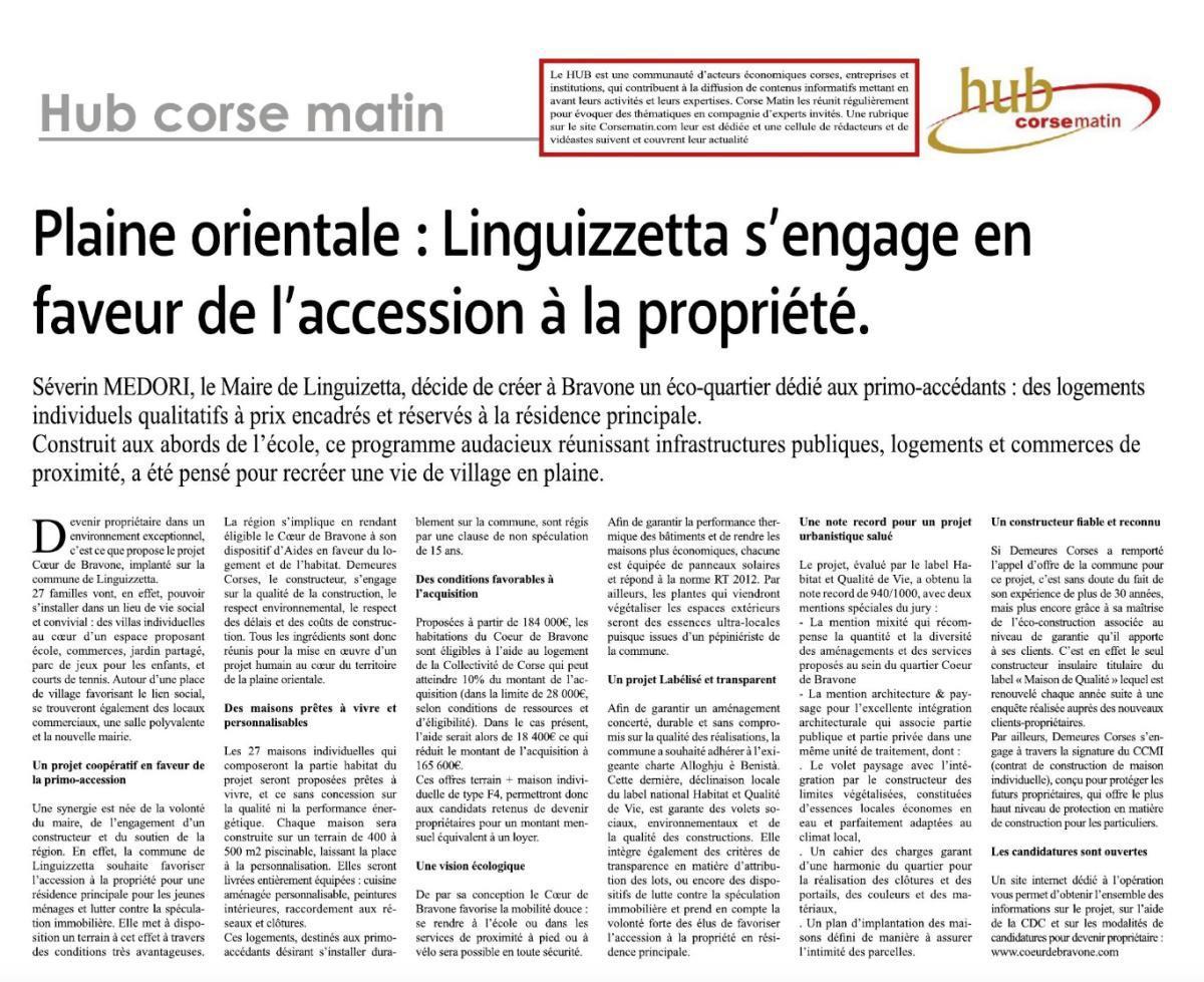 Article Corse-Matin du 09/12/2020