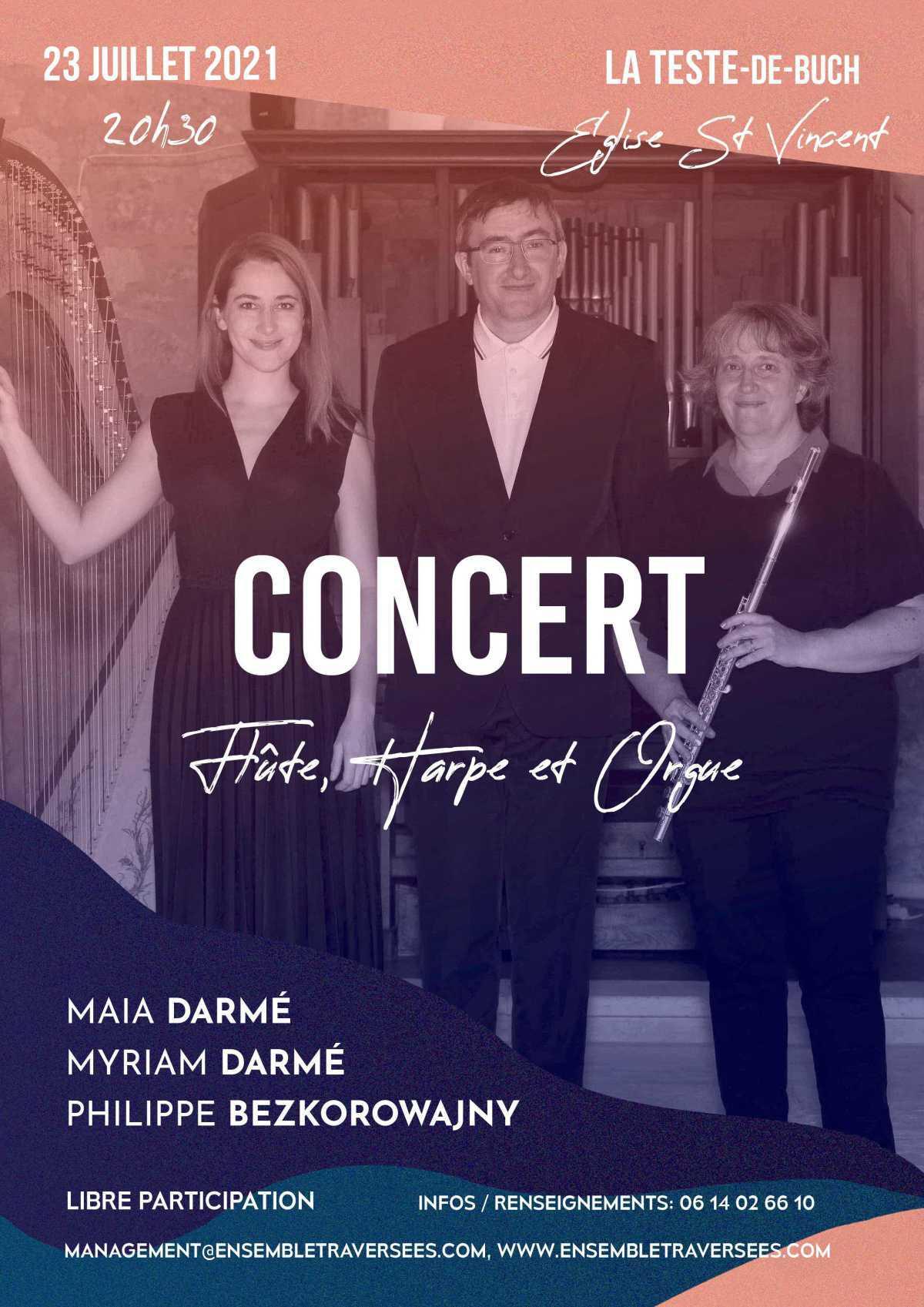 Un concert à entrée libre du trio flûte, harpe et orgue Traversées à l'Eglise Saint-Vincent de La Teste.