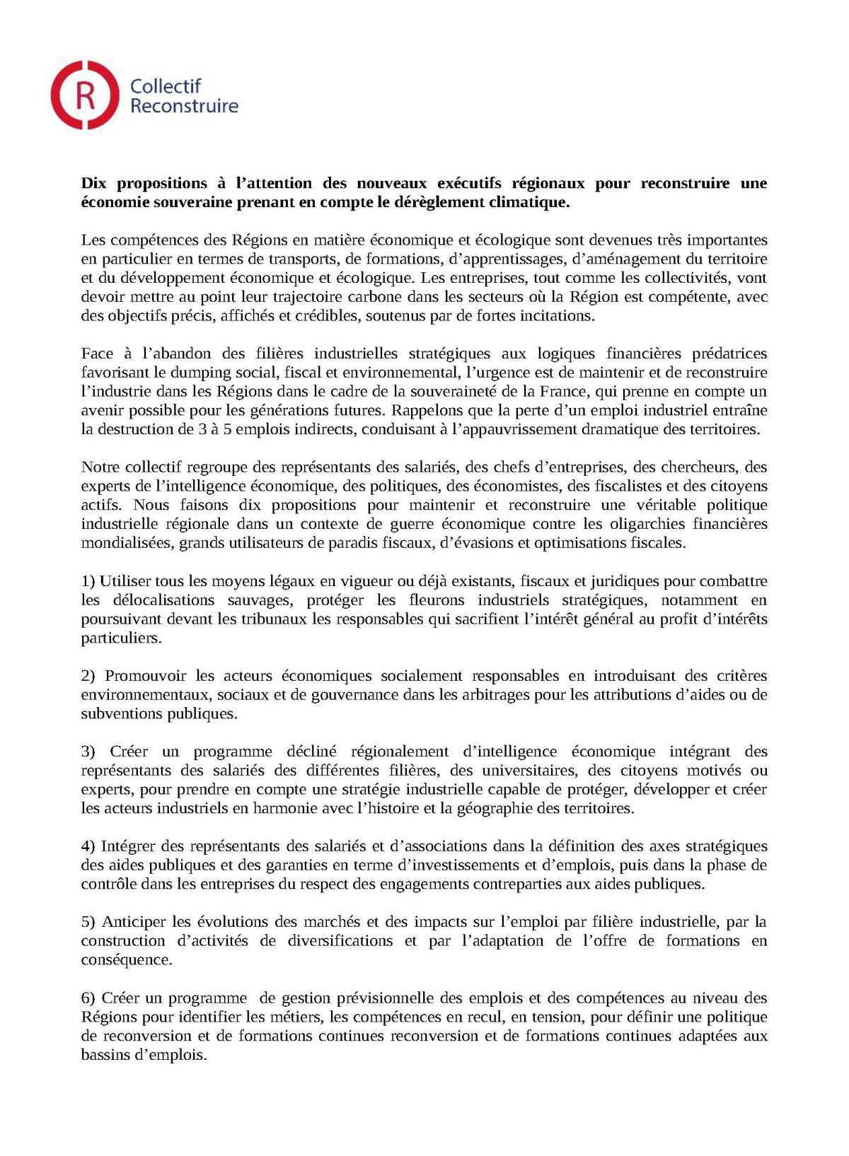 Communiqué de presse du collectif Reconstruire ainsi 10 propositions pour une industrie souveraine et responsable à destination des futurs présidents de régions.